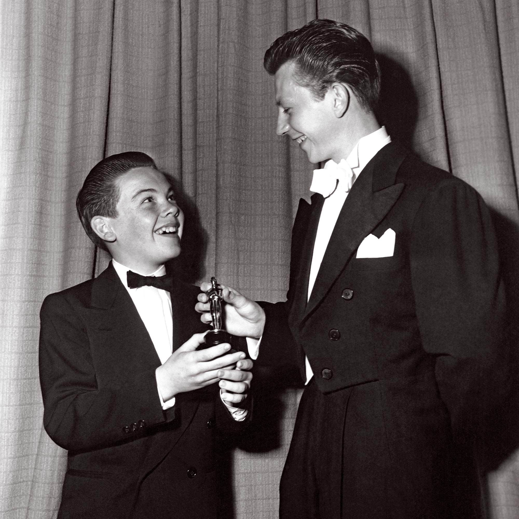 Bobby Driscoll is presented by Donald O'Connor with special Academy Award at age 12 as the outstandi