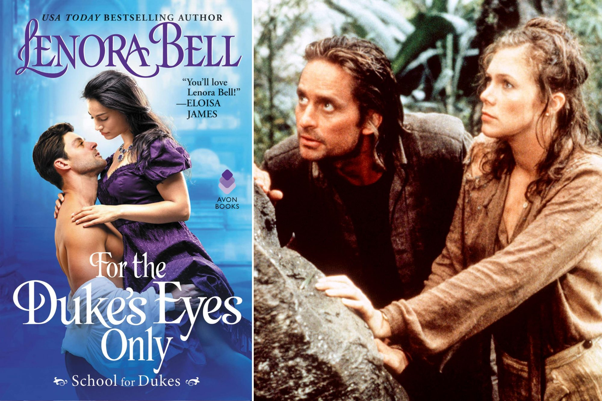 Read For the Duke's Eyes Only by Lenora Bell; Watch Romancing the Stone (1984)