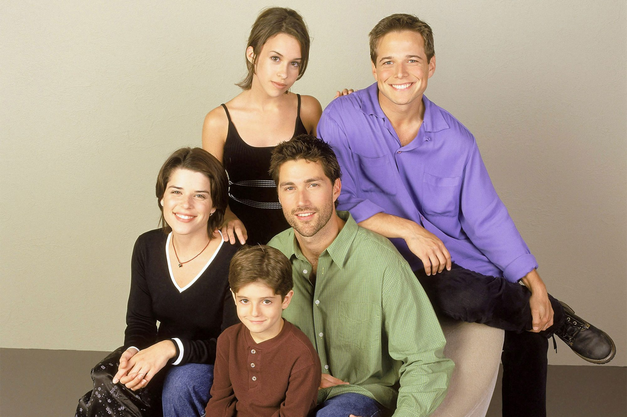 PARTY OF FIVE, (clockwise from top left): Lacey Chabert, Scott Wolf, Matthew Fox, Jacob Smith, Neve