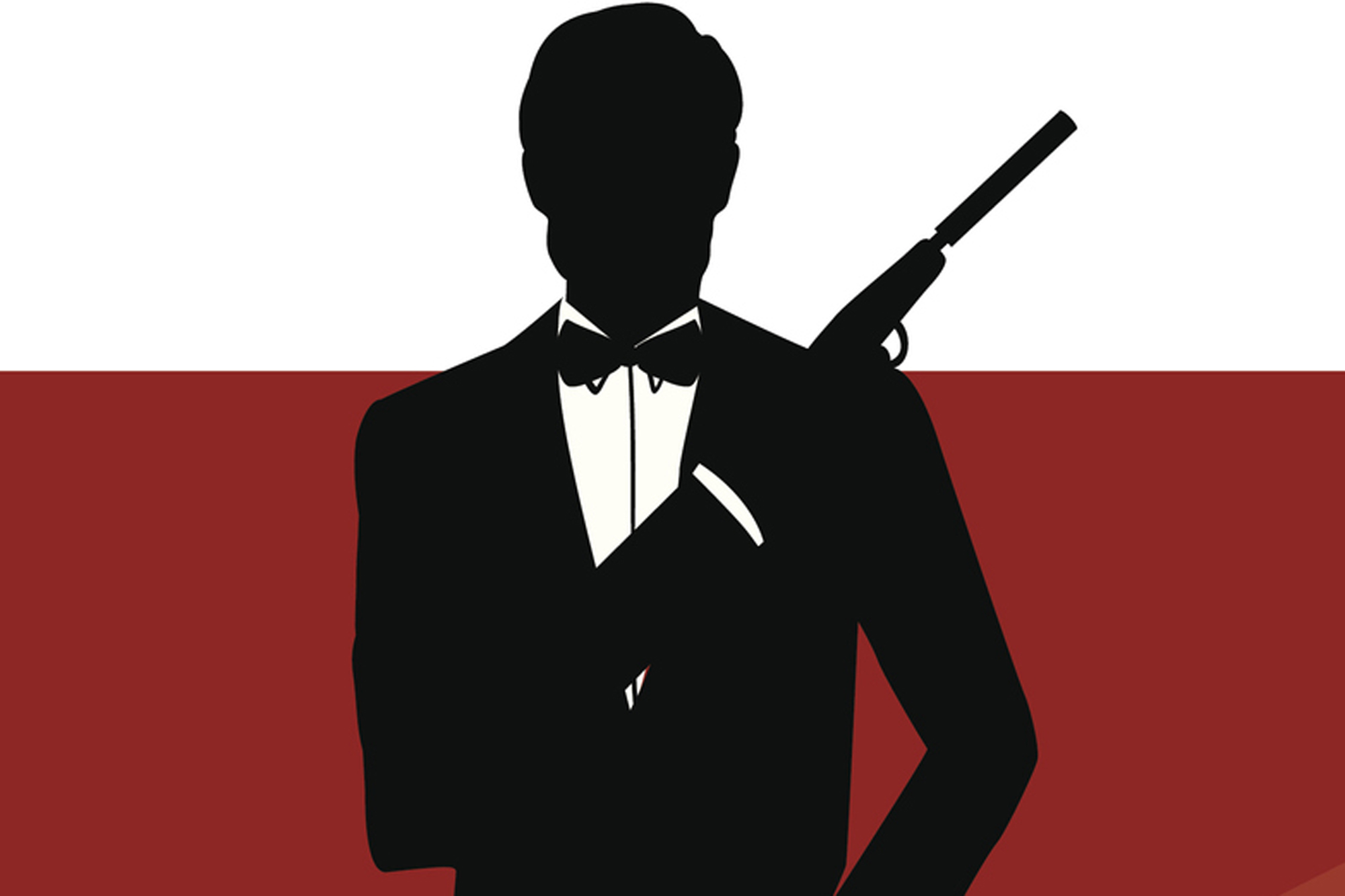 Red rectangular banner with James Bond in silhouette
