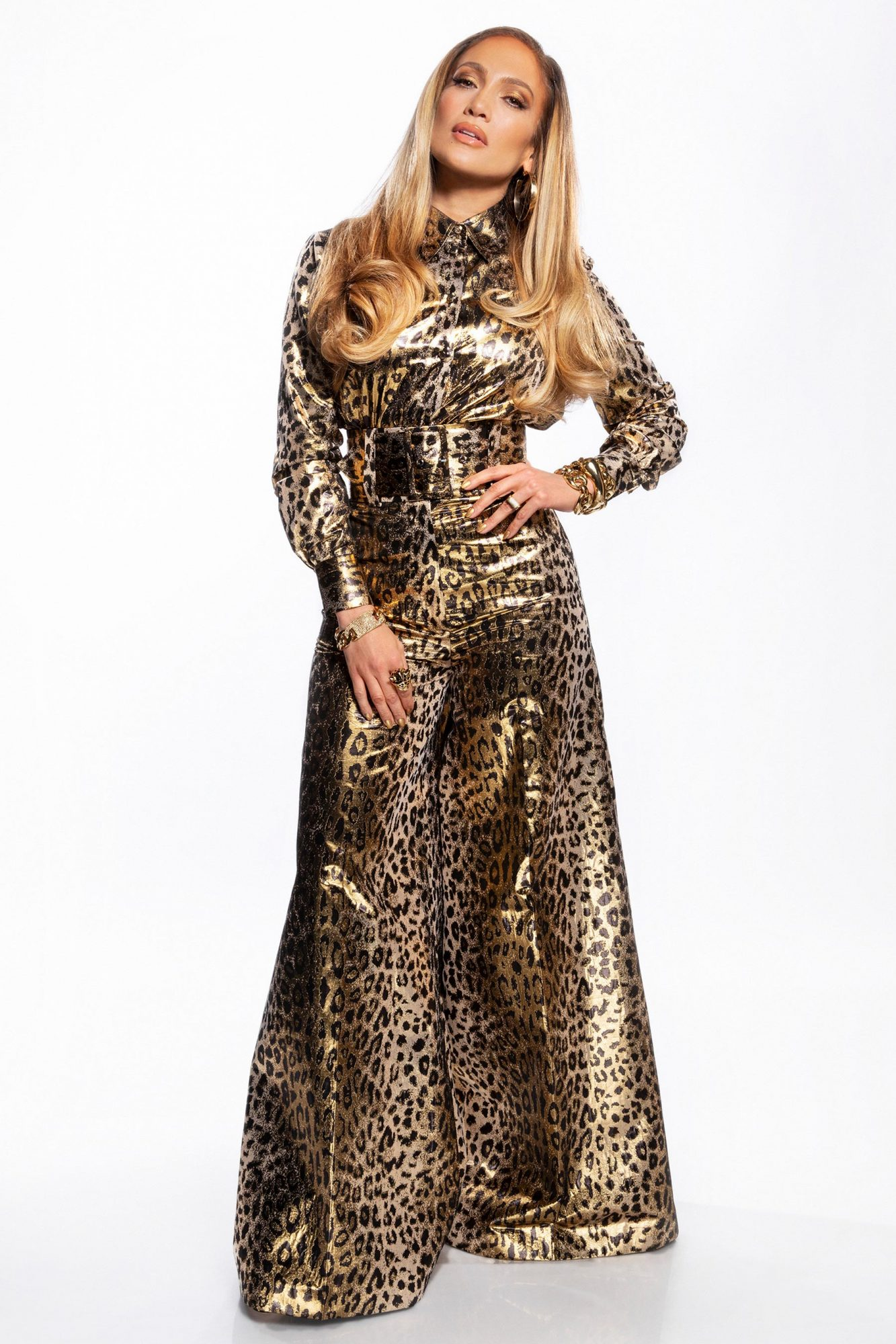 Absolutely purrrr-fect in this shimmery leopard print jumpsuit