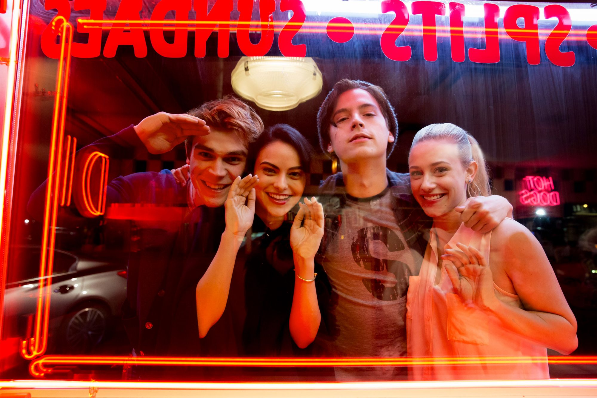 Riverdale Chapter One: The River's Edge Pictured (L-R): KJ Apa, Camila Mendes, Cole Sprouse, and Lili Reinhart BTS