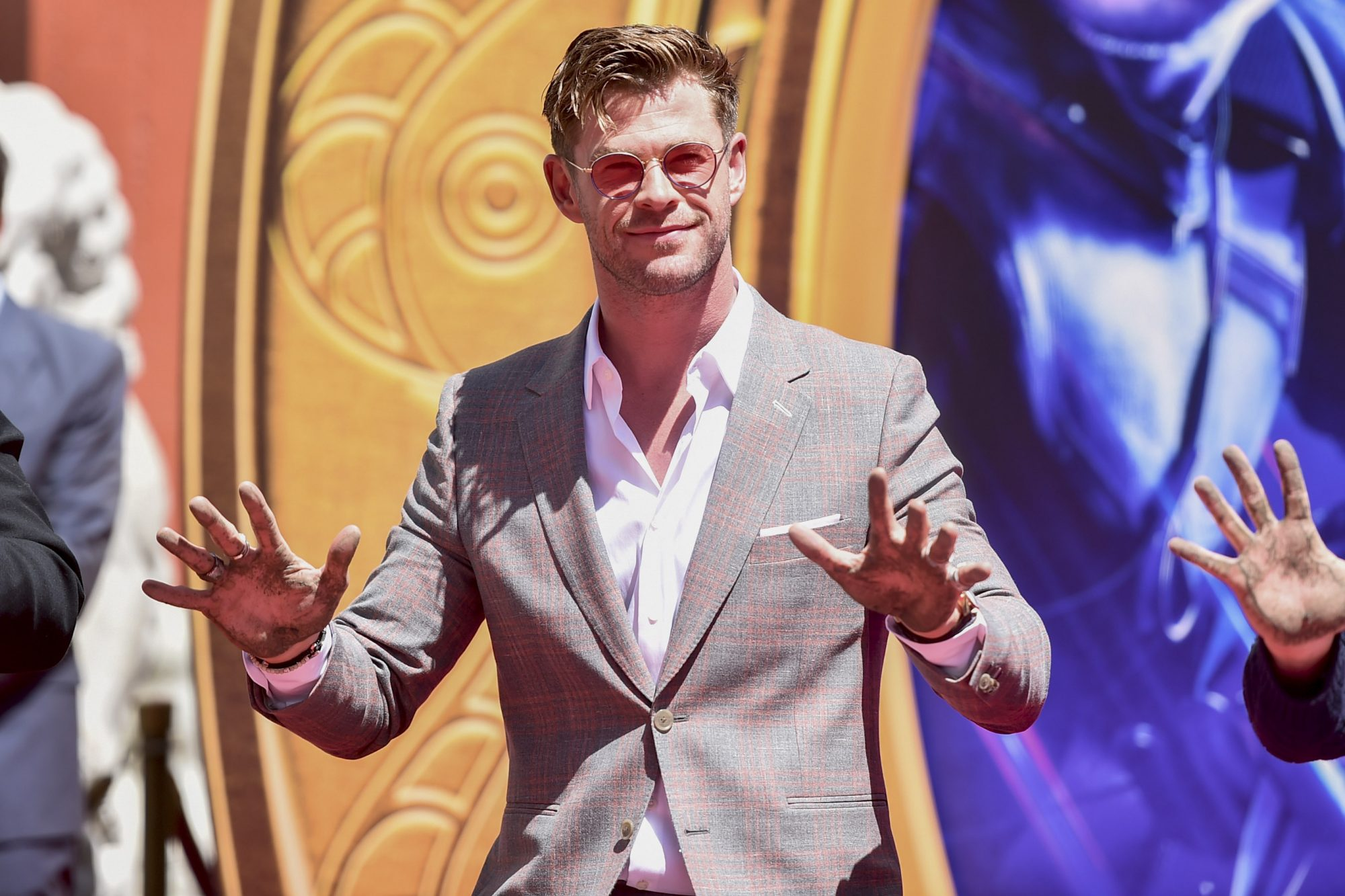 "HOLLYWOOD, CA - APRIL 23: Marvel Studios' ""Avengers: Endgame"" star Chris Hemsworth at the Hand And Footprint Ceremony at the TCL Chinese Theatre on April 23, 2019 in Hollywood, California. (Photo by Alberto E. Rodriguez/Getty Images for Disney) *** Local Caption *** Chris Hemsworth"