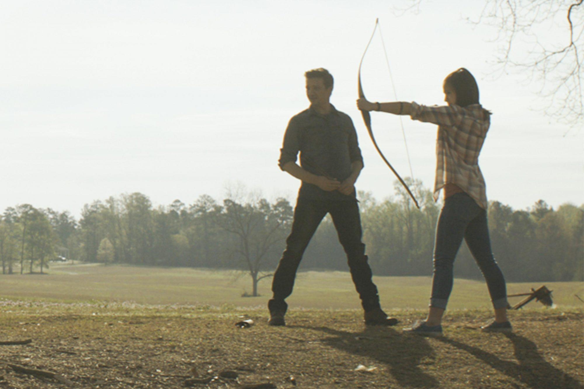 Marvel Studios' AVENGERS: ENDGAME..L to R: Hawkeye/Clint Barton (Jeremy Renner) and daughter (Sophia Russo)..Photo: Film Frame..©Marvel Studios 2019