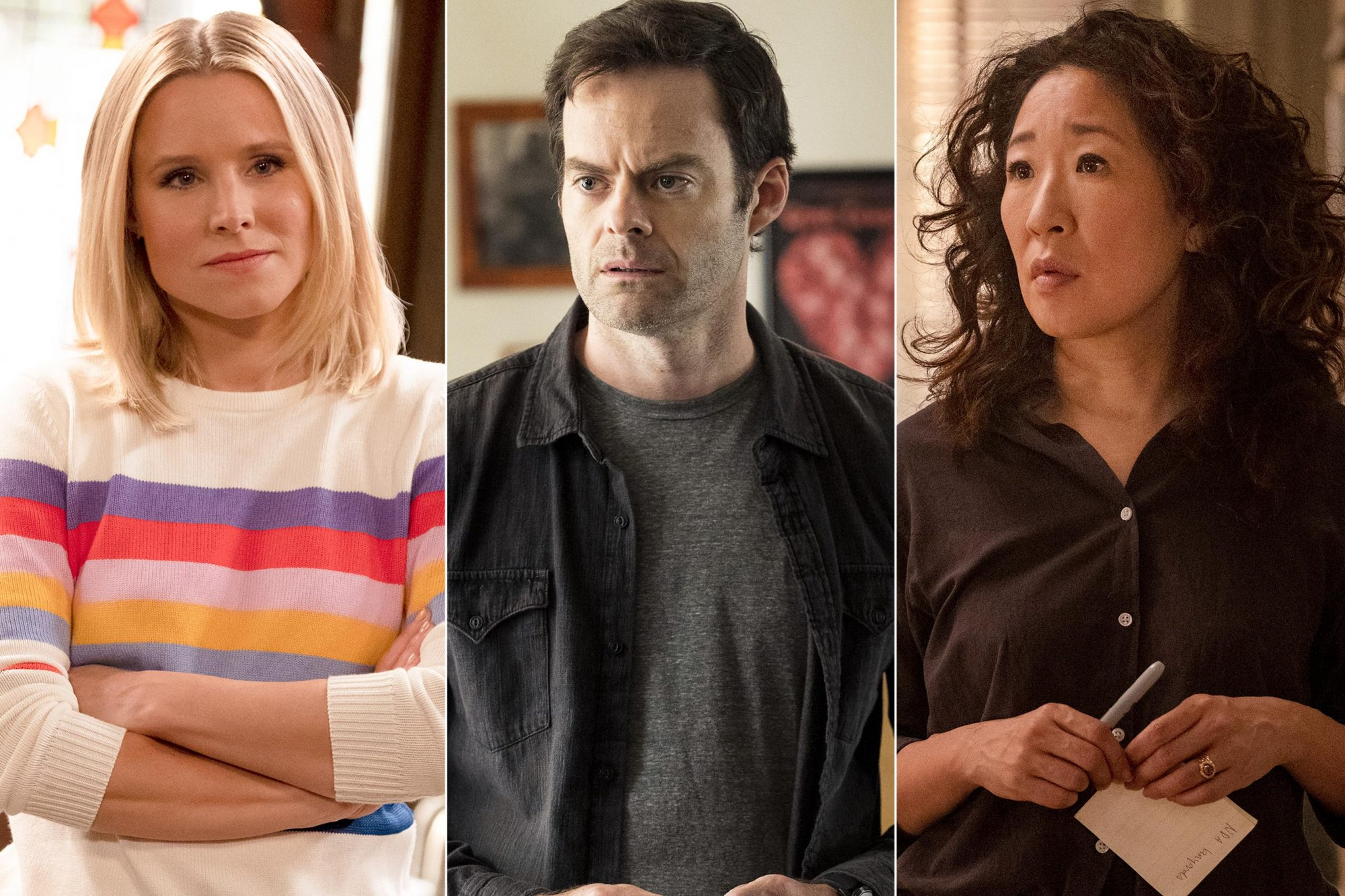 "THE GOOD PLACE -- ""Don't Let the Good Life Pass You By"" Episode 309 -- Pictured: Kristen Bell as Eleanor Shellstrop -- (Photo by: Colleen Hayes/NBC) Barry Season 2 Pictured: Bill Hader CR: Isabella Vosmikova/HBO Sandra Oh as Eve Polastri - Killing Eve _ Season 2, Episode 4 - Photo Credit: Gareth Gatrell/BBCAmerica"