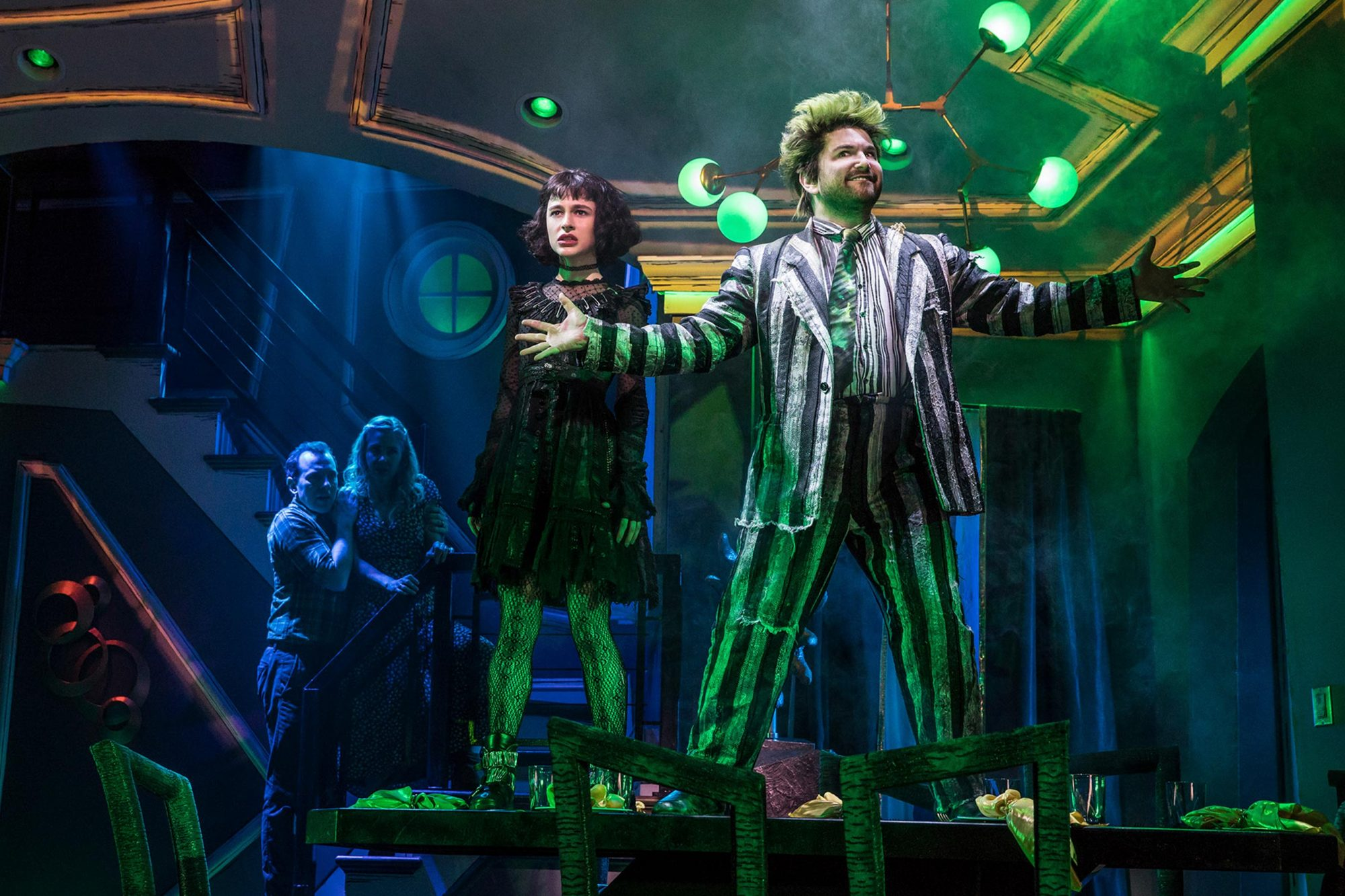 ROB McCLURE, KERRY BUTLER, SOPHIA ANNE CARUSO, ALEX BRIGHTMAN in BEETLEJUICE, Photo by Matthew Murphy, 2019
