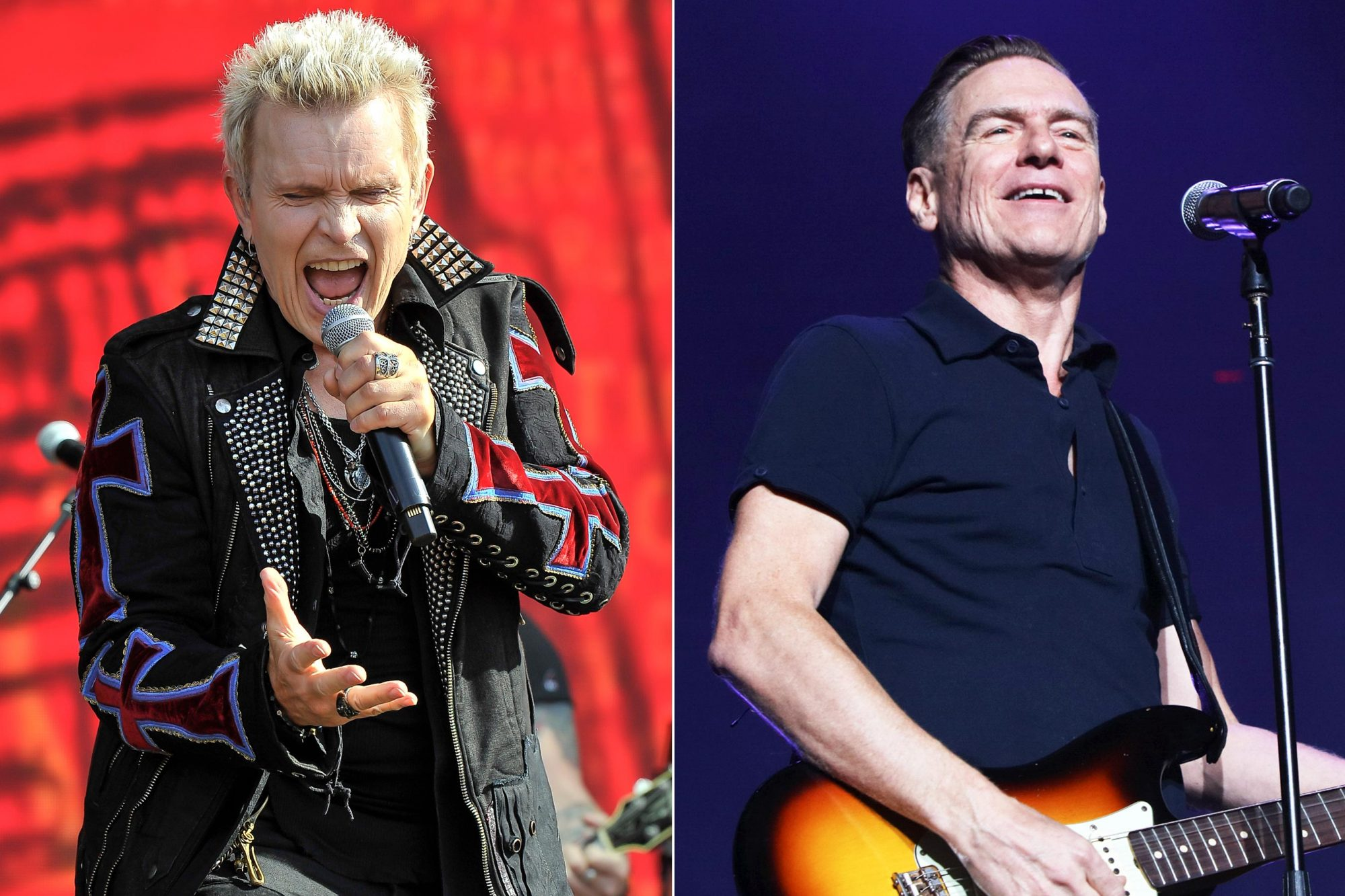 NAPA, CA - MAY 26: Billy Idol performs at BottleRock Napa Valley Music Festival at Napa Valley Expo on May 26, 2018 in Napa, California. (Photo by Steve Jennings/WireImage) NEW YORK, NY - AUGUST 23: (EXCLUSIVE COVERAGE) Bryan Adams and Billy Joel perform onstage during the 55th consecutive show of Billy Joel's residency at Madison Square Garden on August 23, 2018 in New York City. (Photo by Myrna M. Suarez/Getty Images)