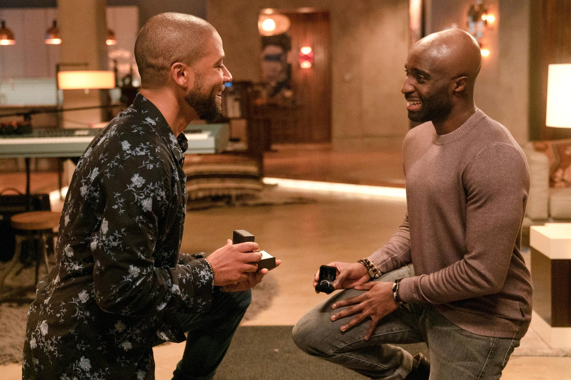 "EMPIRE: L-R: Jussie Smollett and guest star Toby Onwumere in the ""The Depth of Grief"" episode of EMPIRE airing Wednesday, Oct. 31 (8:00-9:00 PM ET/PT) on FOX. ©2018 Fox Broadcasting Co. CR: Jean Whiteside/FOX."