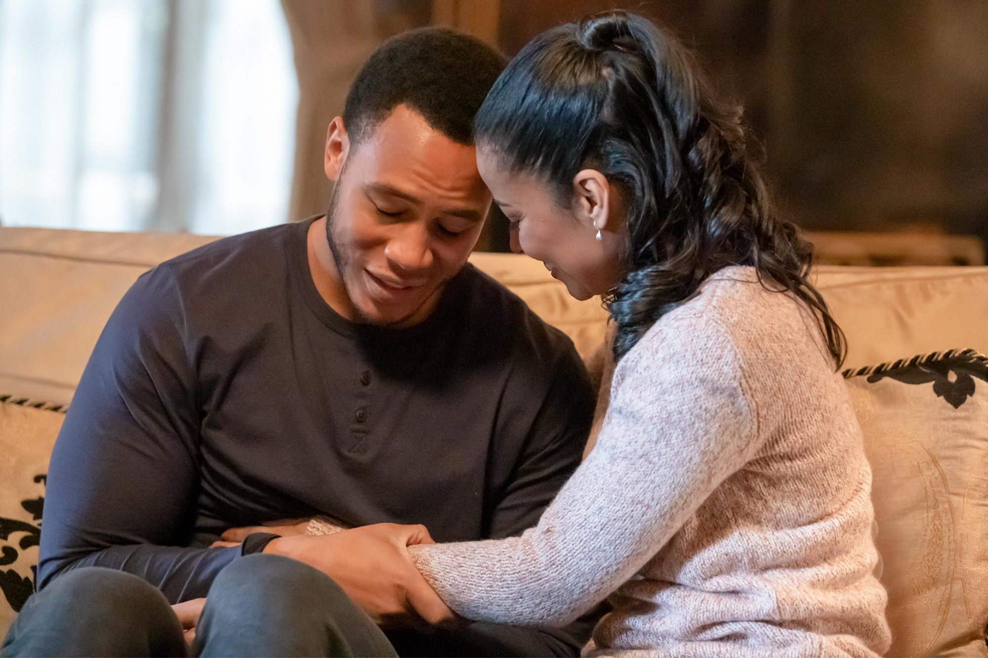 "EMPIRE: L-R: Trai Byers and guest star Meta Golding in the ""A Wise Father That Knows His Own Child"" episode of EMPIRE airing Wednesday, April 17 (8:00-9:00 PM ET/PT) on FOX. ©2019 Fox Media LLC CR: Chuck Hodes/FOX."