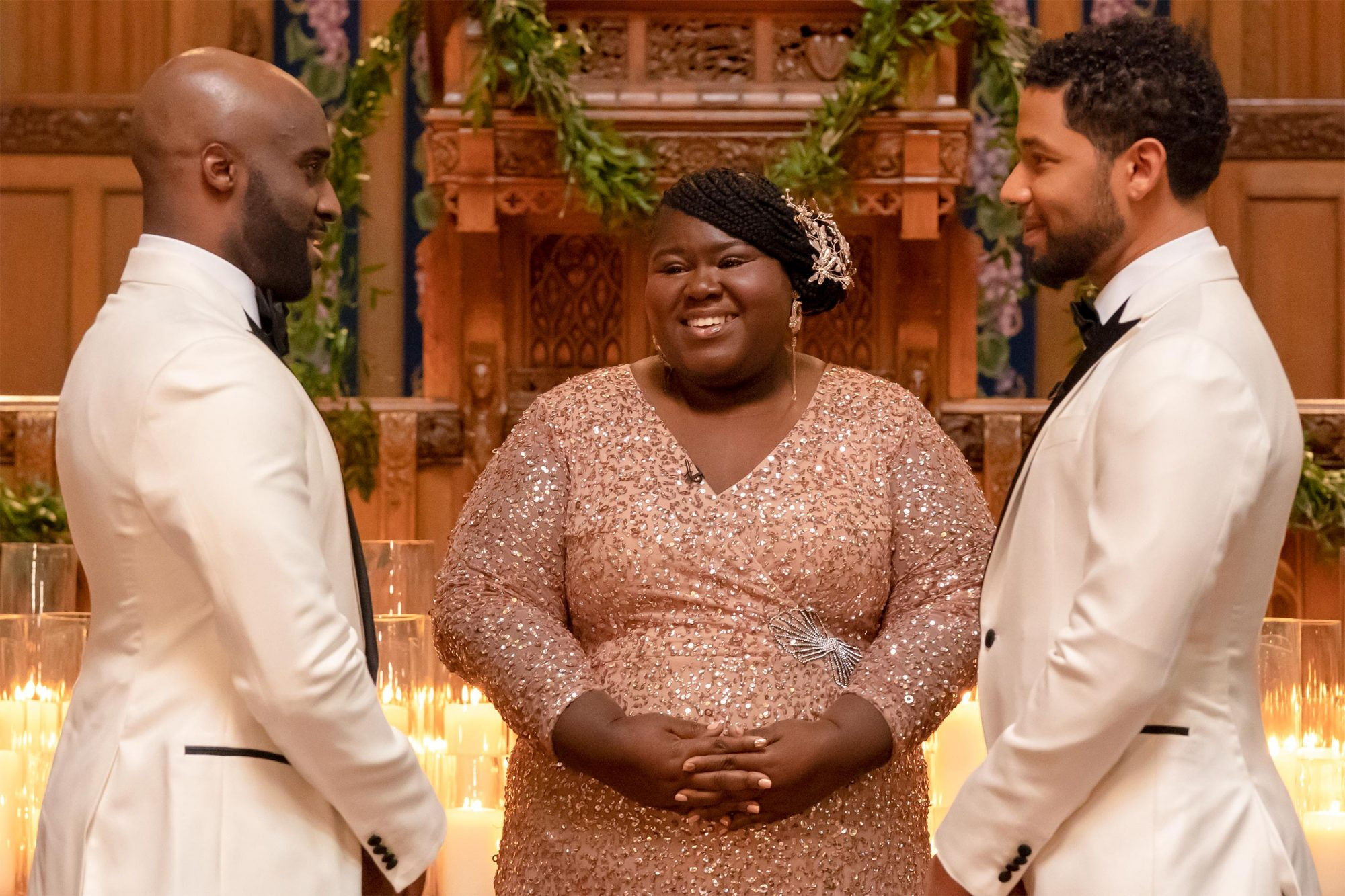 "EMPIRE: L-R: Guest star Toby Onwumere, Gabourey Sidibe and Jussie Smollett in the ""Never Doubt I Love"" episode of EMPIRE airing Wednesday, April 24 (8:00-9:00 PM ET/PT) on FOX. ©2019 Fox Media LLC CR: Chuck Hodes/FOX."