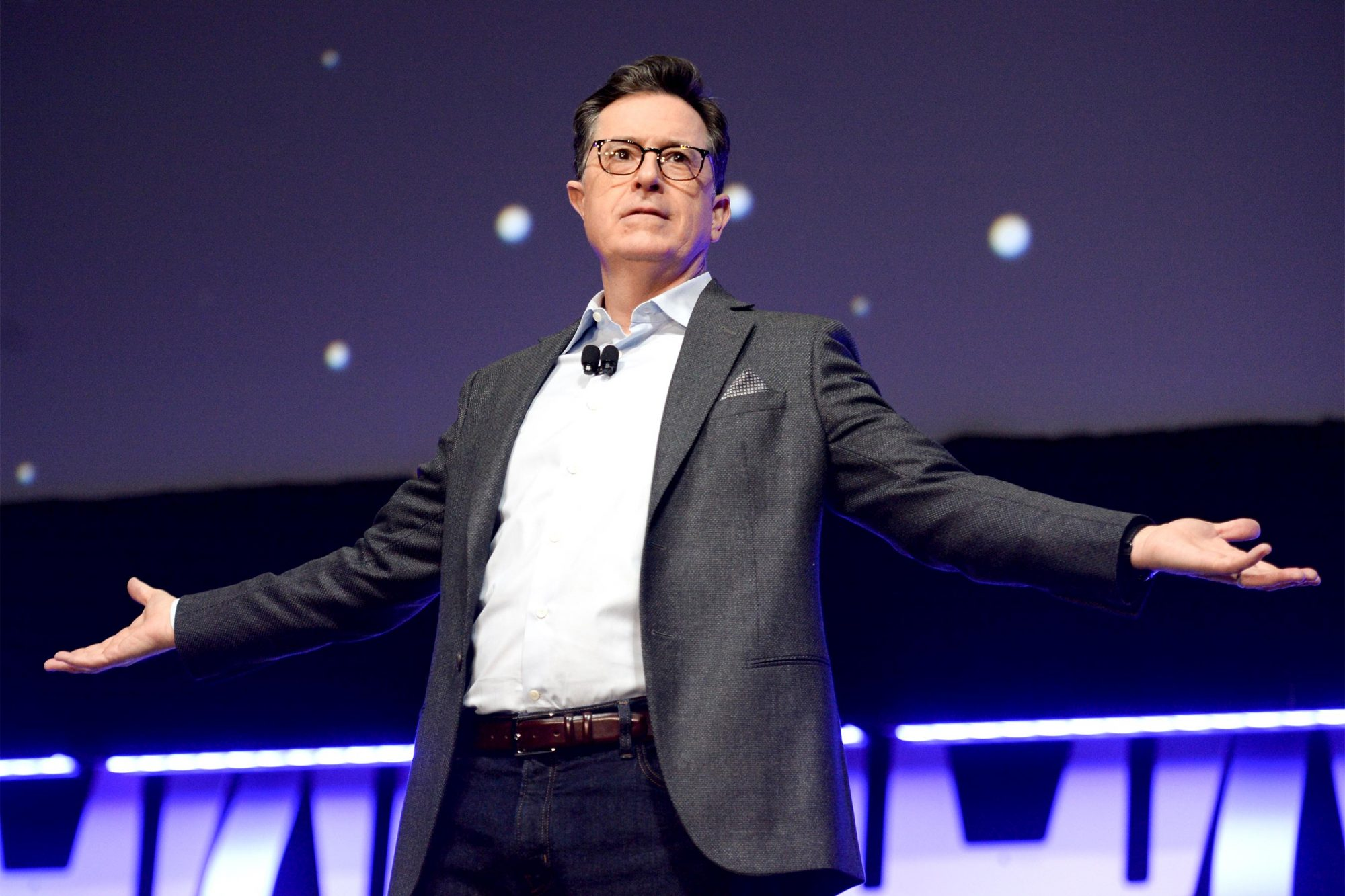 "CHICAGO, IL - APRIL 12: Stephen Colbert onstage during ""The Rise of Skywalker"" panel at the Star Wars Celebration at McCormick Place Convention Center on April 12, 2019 in Chicago, Illinois. (Photo by Daniel Boczarski/Getty Images for Disney )"