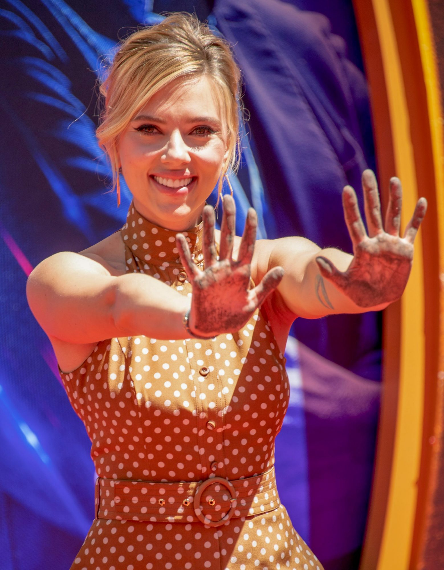 Actress Scarlett Johansson attends the Marvel Studios' 'Avengers: Endgame' cast place their hand prints in cement at TCL Chinese Theatre IMAX Forecourt on April 23, 2019, in Hollywood, California. (Photo by VALERIE MACON / AFP) (Photo credit should read VALERIE MACON/AFP/Getty Images)