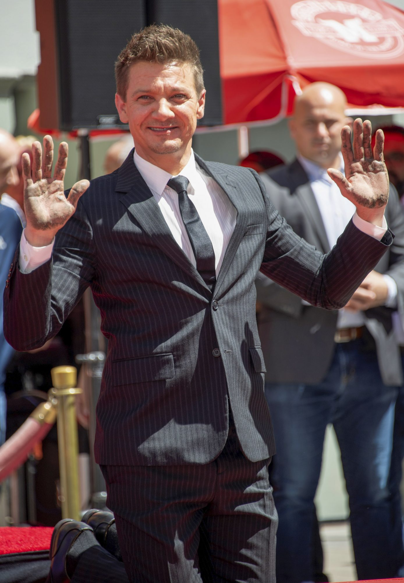 Actor Jeremy Renner attends the Marvel Studios' 'Avengers: Endgame' cast place their hand prints in cement at TCL Chinese Theatre IMAX Forecourt on April 23, 2019, in Hollywood, California. (Photo by VALERIE MACON / AFP) (Photo credit should read VALERIE MACON/AFP/Getty Images)