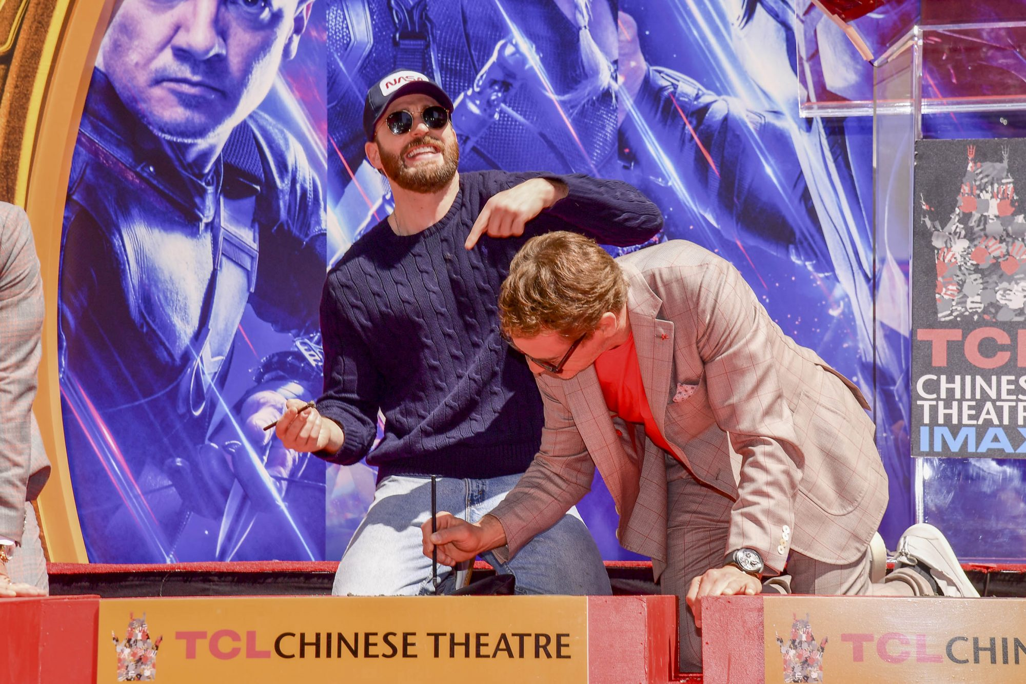 HOLLYWOOD, CALIFORNIA - APRIL 23: Chris Evans and Robert Downey Jr. pose at the Marvel Studios' 'Avengers: Endgame' Cast Place Their Hand Prints In Cement At TCL Chinese Theatre IMAX Forecourt at TCL Chinese Theatre IMAX on April 23, 2019 in Hollywood, California. (Photo by Matt Winkelmeyer/Getty Images)