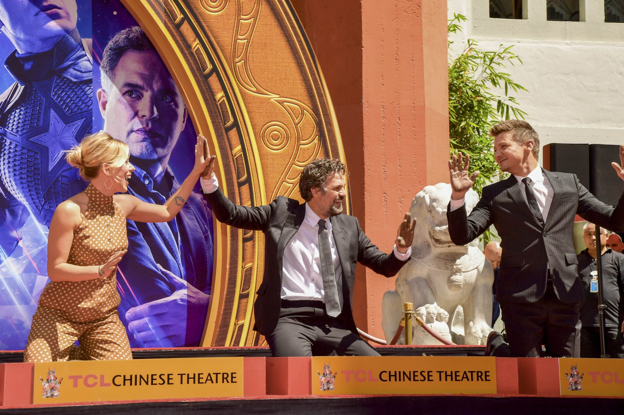 HOLLYWOOD, CALIFORNIA - APRIL 23: Scarlett Johansson, Mark Ruffalo and Jeremy Renner pose at the Marvel Studios' 'Avengers: Endgame' Cast Place Their Hand Prints In Cement At TCL Chinese Theatre IMAX Forecourt at TCL Chinese Theatre IMAX on April 23, 2019 in Hollywood, California. (Photo by Matt Winkelmeyer/Getty Images)