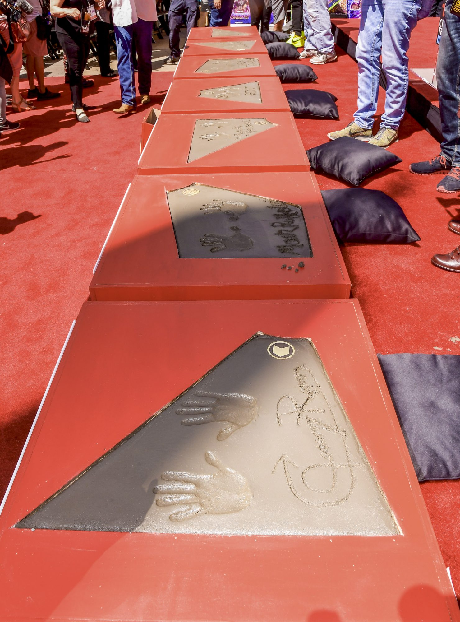 HOLLYWOOD, CALIFORNIA - APRIL 23: A general view of Kevin Feige's, Chris Hemsworth's, Chris Evans', Robert Downey Jr.'s , Scarlett Johansson's, Mark Ruffalo's, and Jeremy Renner's handprints at the Marvel Studios' 'Avengers: Endgame' Cast Place Their Hand Prints In Cement At TCL Chinese Theatre IMAX Forecourt at TCL Chinese Theatre IMAX on April 23, 2019 in Hollywood, California. (Photo by Matt Winkelmeyer/Getty Images)