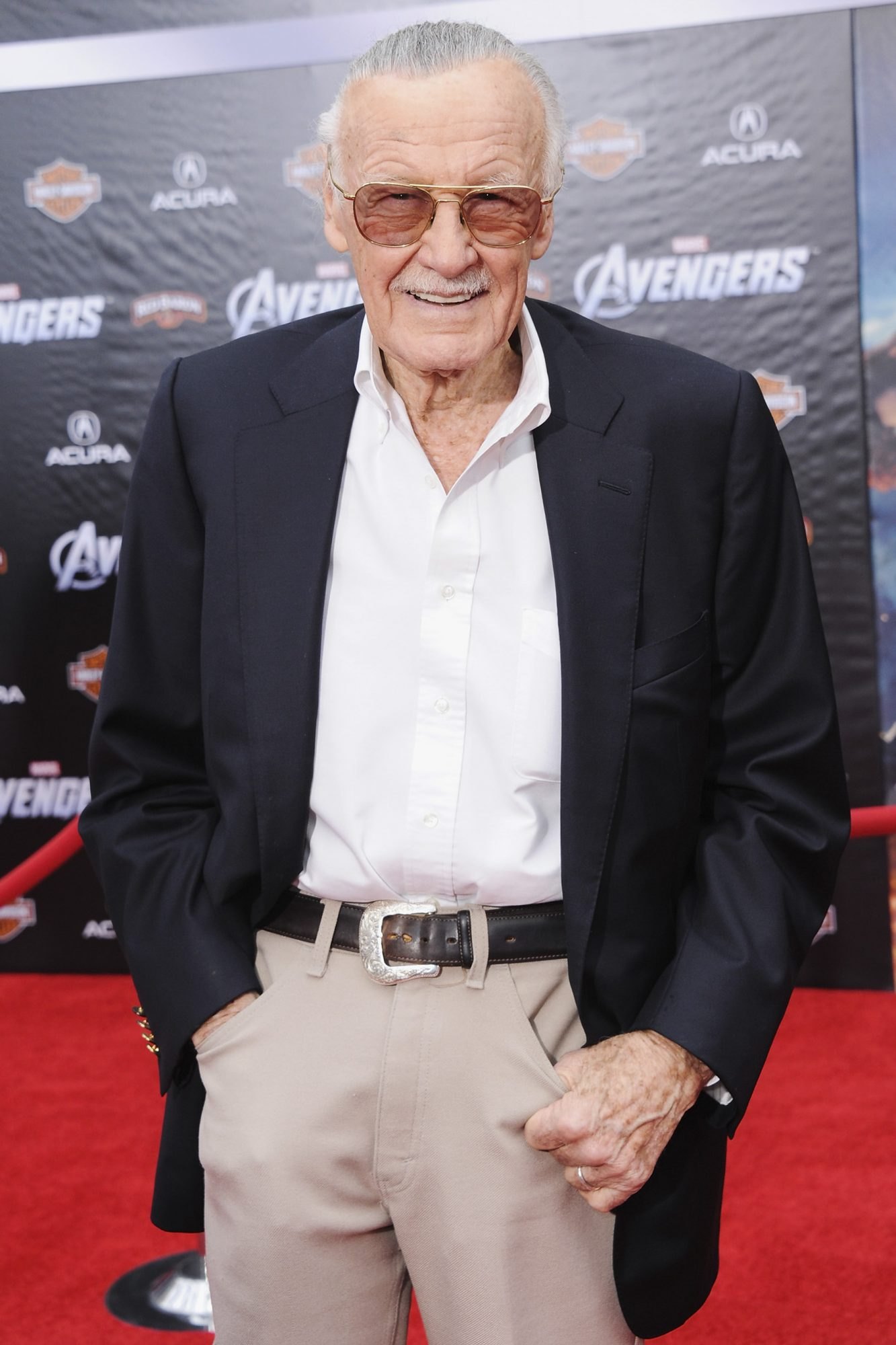 "HOLLYWOOD, CA - APRIL 11: Stan Lee arrives at the Los Angeles Premiere of ""The Avengers"" at the El Capitan Theatre on April 11, 2012 in Hollywood, California. (Photo by Jon Kopaloff/FilmMagic)"