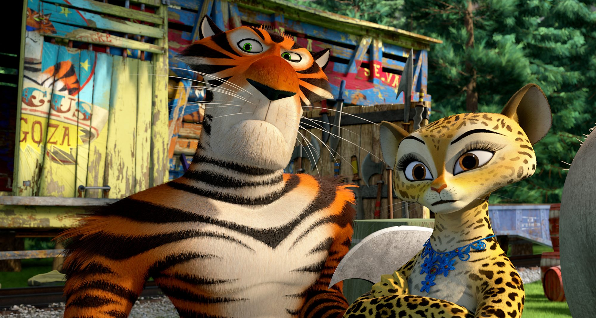MADAGASCAR 3: EUROPE'S MOST WANTED, from left: Vitaly (voice: Bryan Cranston), Gia (voice: Jessica C