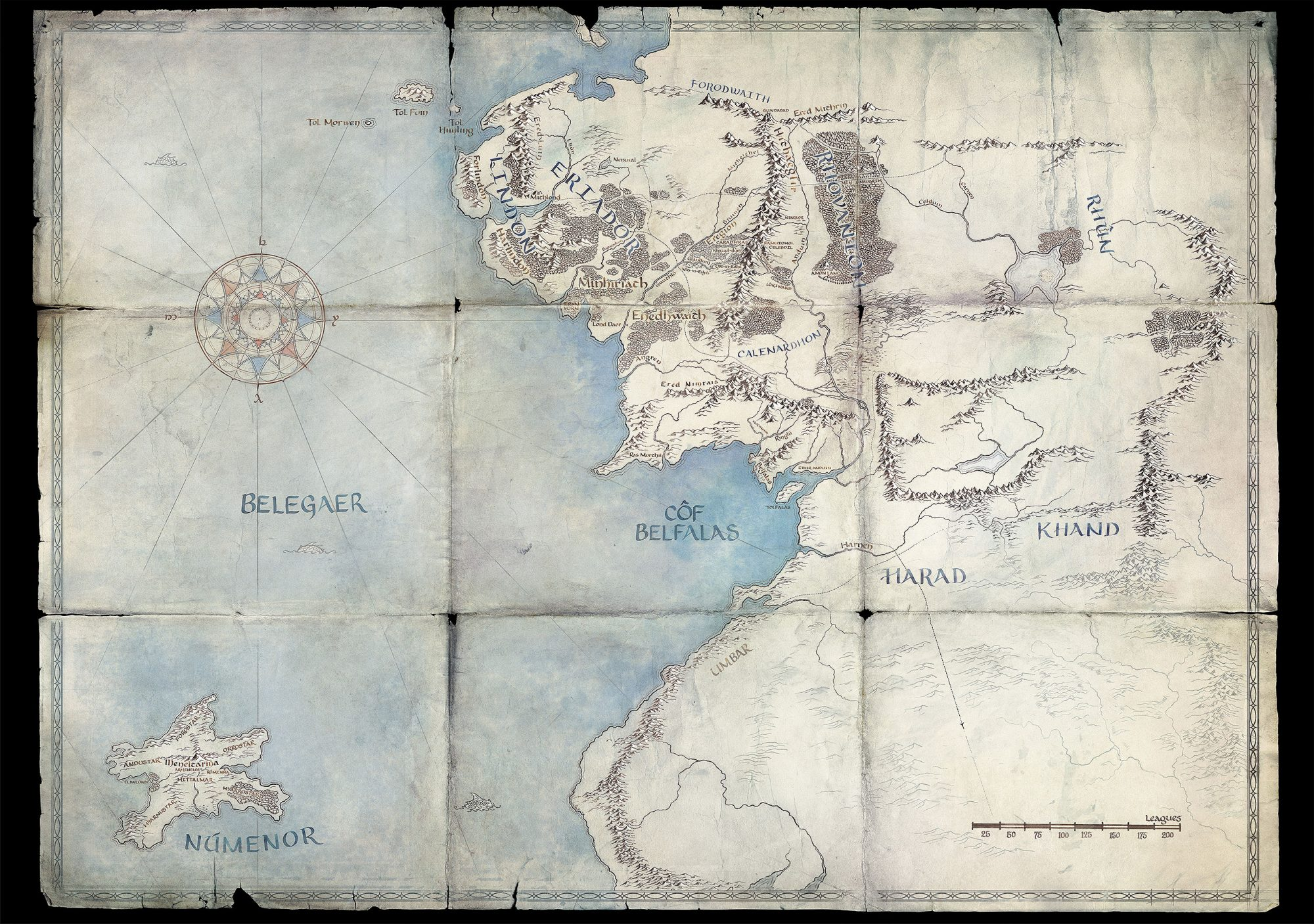 Map of Middle Earthfrom 'The Lord of the Rings'