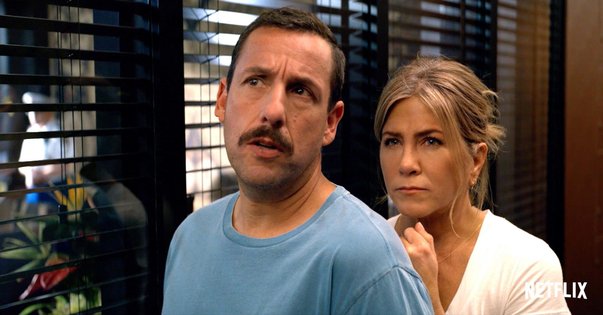 Murder Mystery (screen grab) Adam Sandler and Jennifer Aniston CR: Netflix