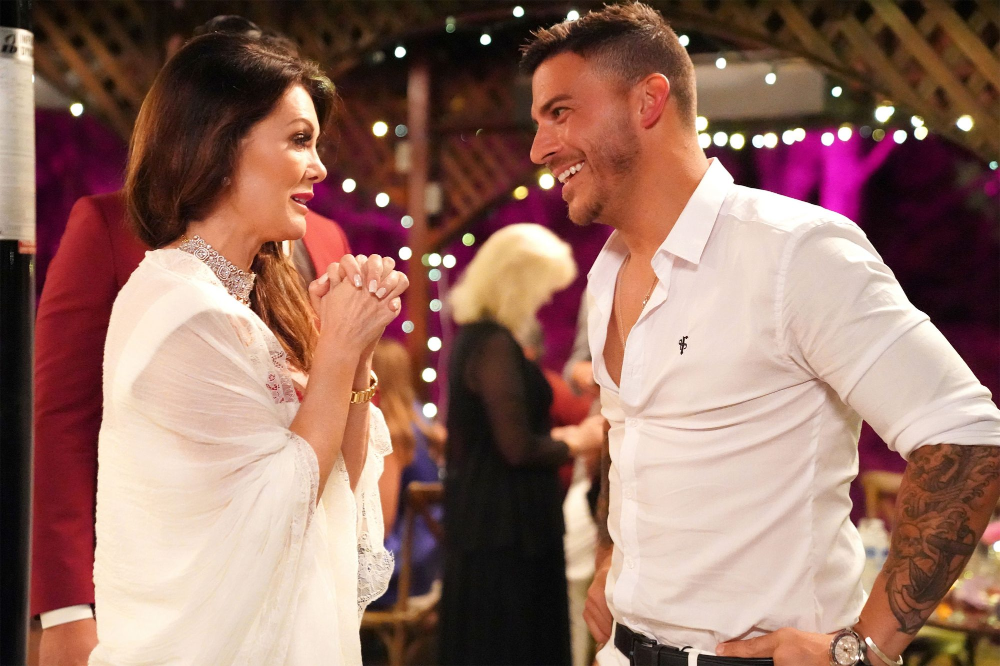 "VANDERPUMP RULES -- ""Rules of Engagement"" Episode 721 -- Pictured: (l-r) Lisa Vanderpump, Jax Taylor -- (Photo by: Nicole Weingart/Bravo)"