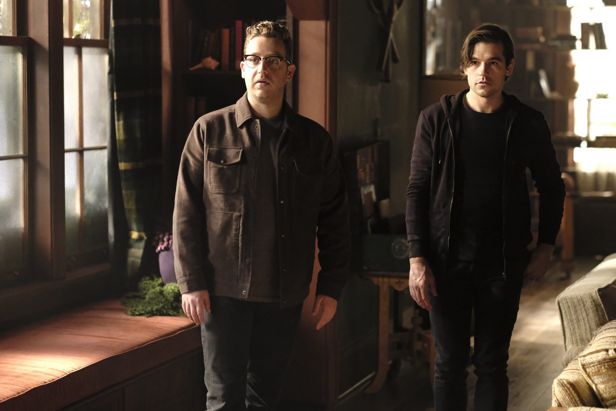 "THE MAGICIANS -- ""No Better To Be Safe Than Sorry"" Episode 413 -- Pictured: (l-r) Trevor Einhorn as Josh Hoberman, Jason Ralph as Quentin Coldwater -- (Photo by: Eike Schroter/SYFY)"