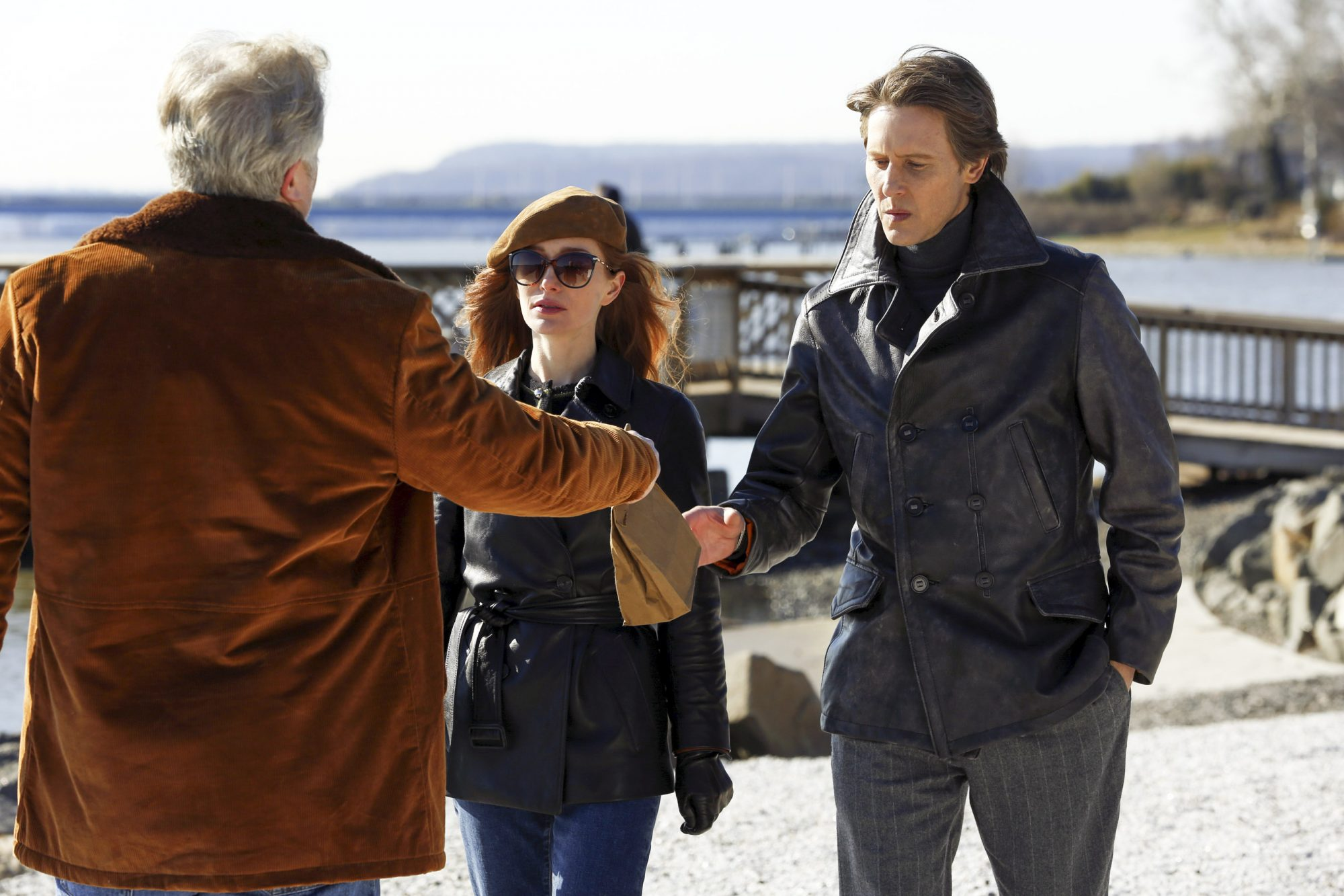 "THE BLACKLIST -- ""Rassvet"" Episode 619 -- Pictured: (l-r) Lotte Verbeek as Katarina Rostova, Gabriel Mann as Ilya Koslov -- (Photo by: Will Hart/NBC)"