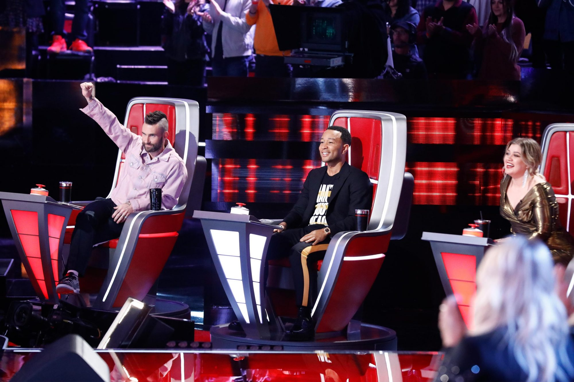 "THE VOICE -- ""Live Cross Battles Results"" Episode 1611B -- Pictured: (l-r) Adam Levine, John Legend, Kelly Clarkson -- (Photo by: Trae Patton/NBC)"