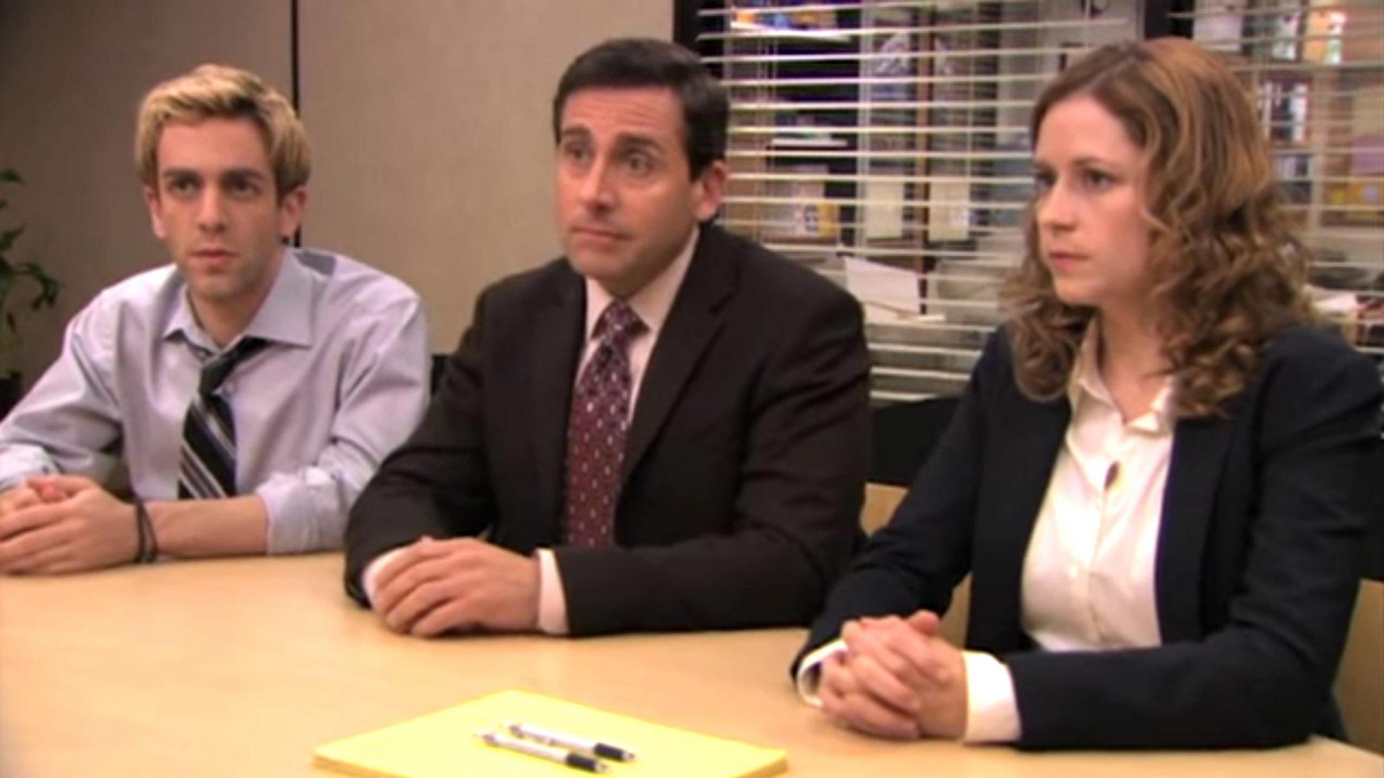 The Office - Broke (Episode Highlight) Season 5, Episode 25 (screen grab) BJ Novak, Steve Carell and Jenna Fischer https://www.youtube.com/watch?v=363ra3VGiGA CR: NBC