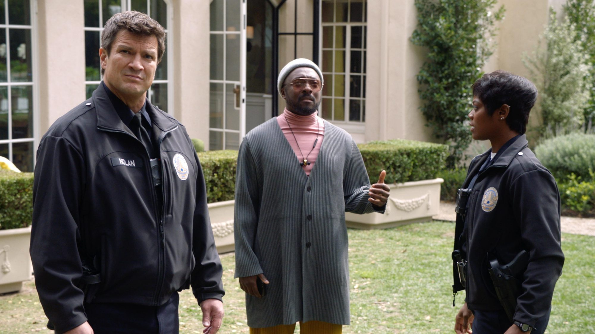 The Rookie (screen grab)Nathan Fillion, Will.i.am and Afton WilliamsonCR: ABC