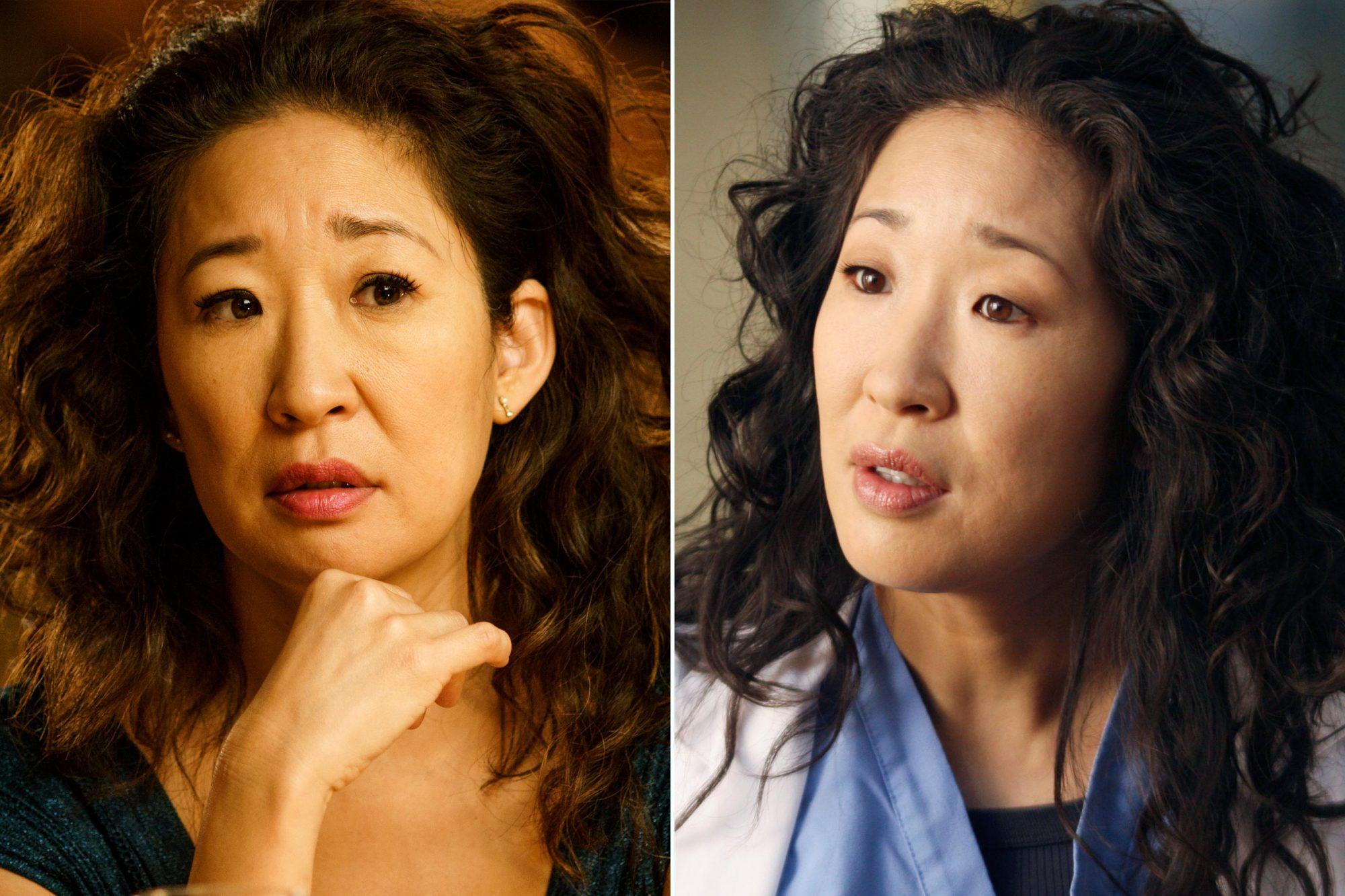 Sandra Oh em Killing Eve e em Grey's Anatomy.