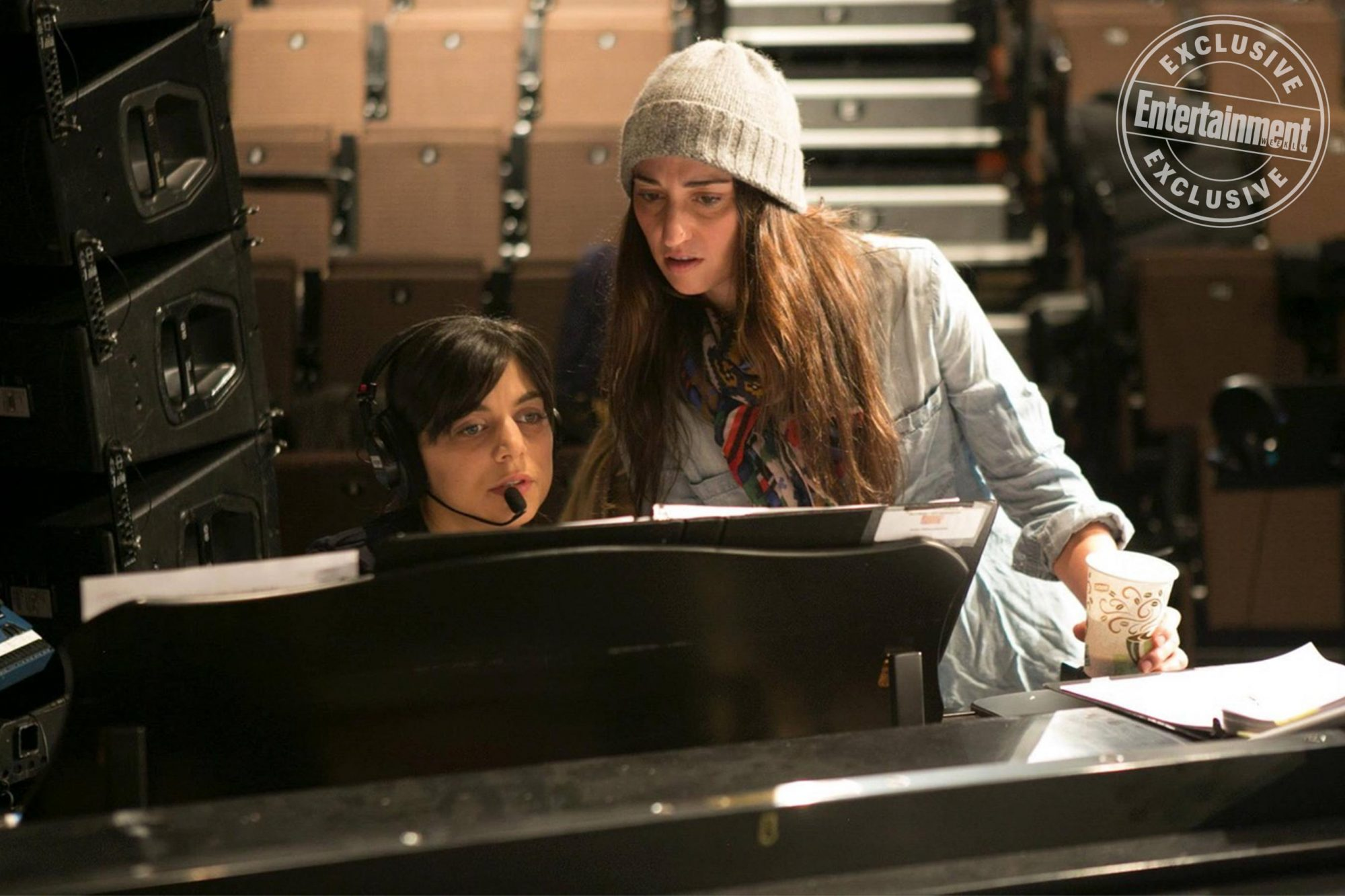 WAITRESS on Broadway BTS Nadia DiGiallonardo and Sara Bareilles' in the first demo of 'She Used to Be Mine' from Waitress Photo courtesy of WAITRESS on Broadway