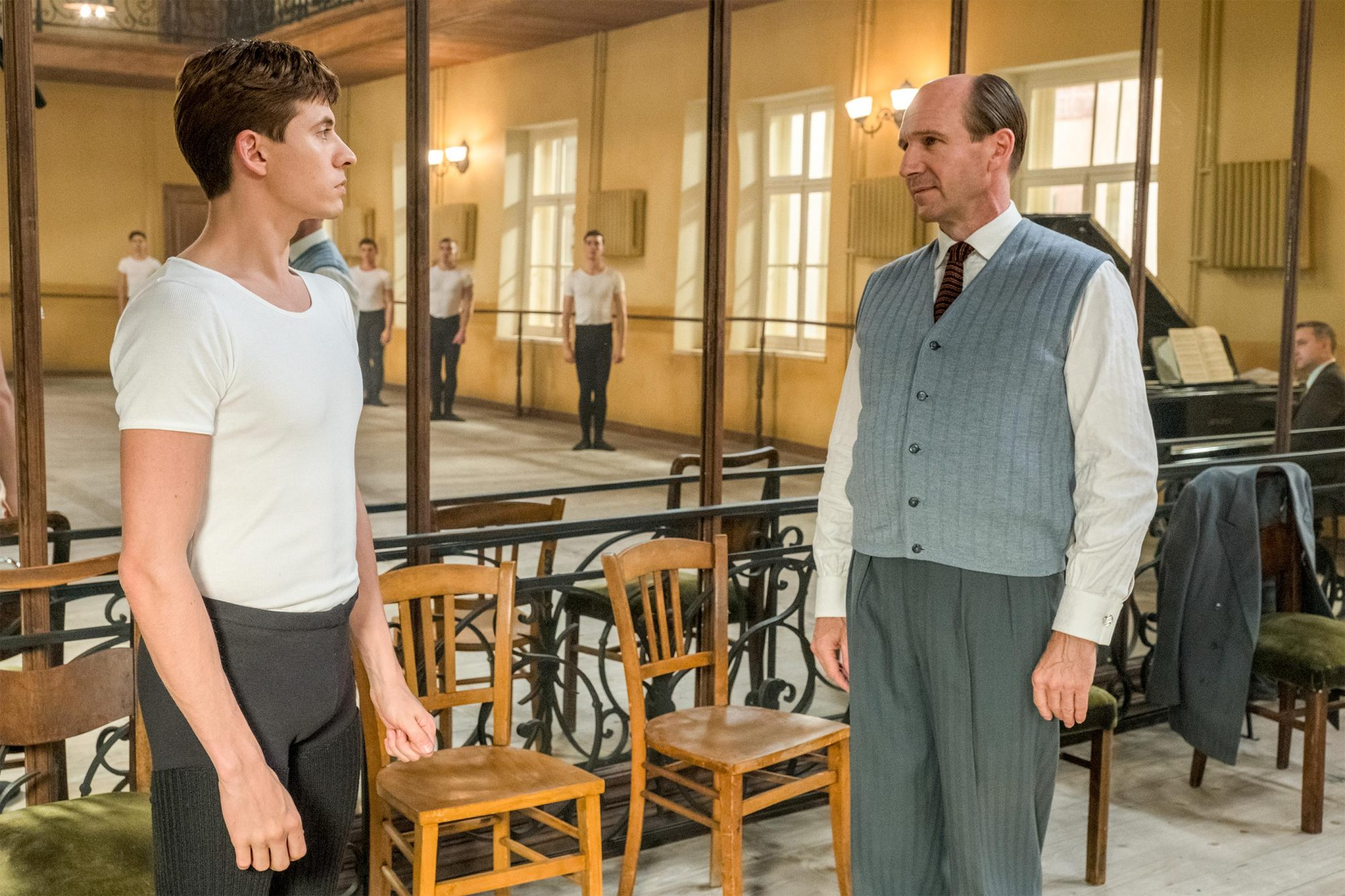 The White Crow Oleg Ivenko as Rudolf Nureyev, Ralph Fiennes as Alexander Pushkin CR: Larry Horricks/Sony Pictures Classics
