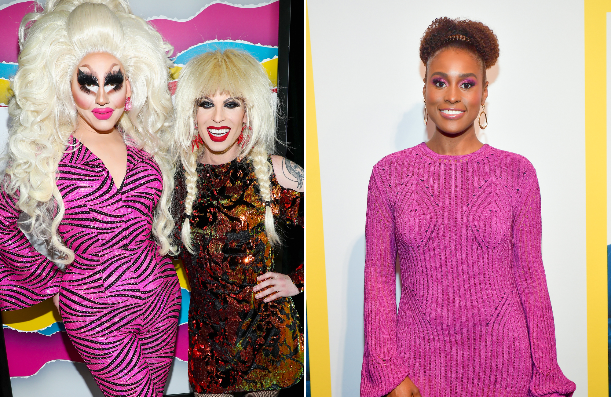 "LEFT: OCTOBER 22: Trixie Mattel (L) and Katya pose backstage during The 8th Annual Streamy Awards at The Beverly Hilton Hotel on October 22, 2018 in Beverly Hills, California. (Photo by Rich Polk/Getty Images for Streamy Awards) RIGHT: APRIL 04: Issa Rae attends ""Little"" Atlanta Premiere at Regal Atlantic Station on April 4, 2019 in Atlanta, Georgia.(Photo by Prince Williams/Wireimage)"