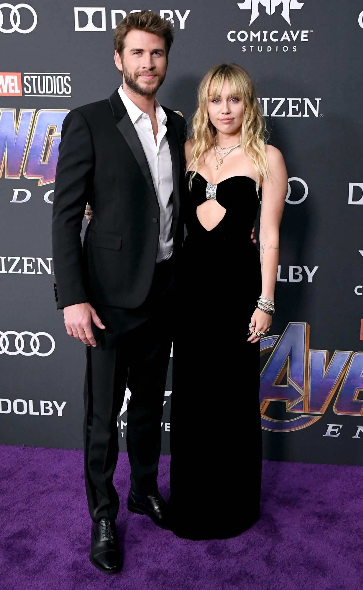 """LOS ANGELES, CA - APRIL 22: Liam Hemsworth (L) and Miley Cyrus attend the world premiere of Walt Disney Studios Motion Pictures """"Avengers: Endgame"""" at the Los Angeles Convention Center on April 22, 2019 in Los Angeles, California. (Photo by Steve Granitz/WireImage)"""