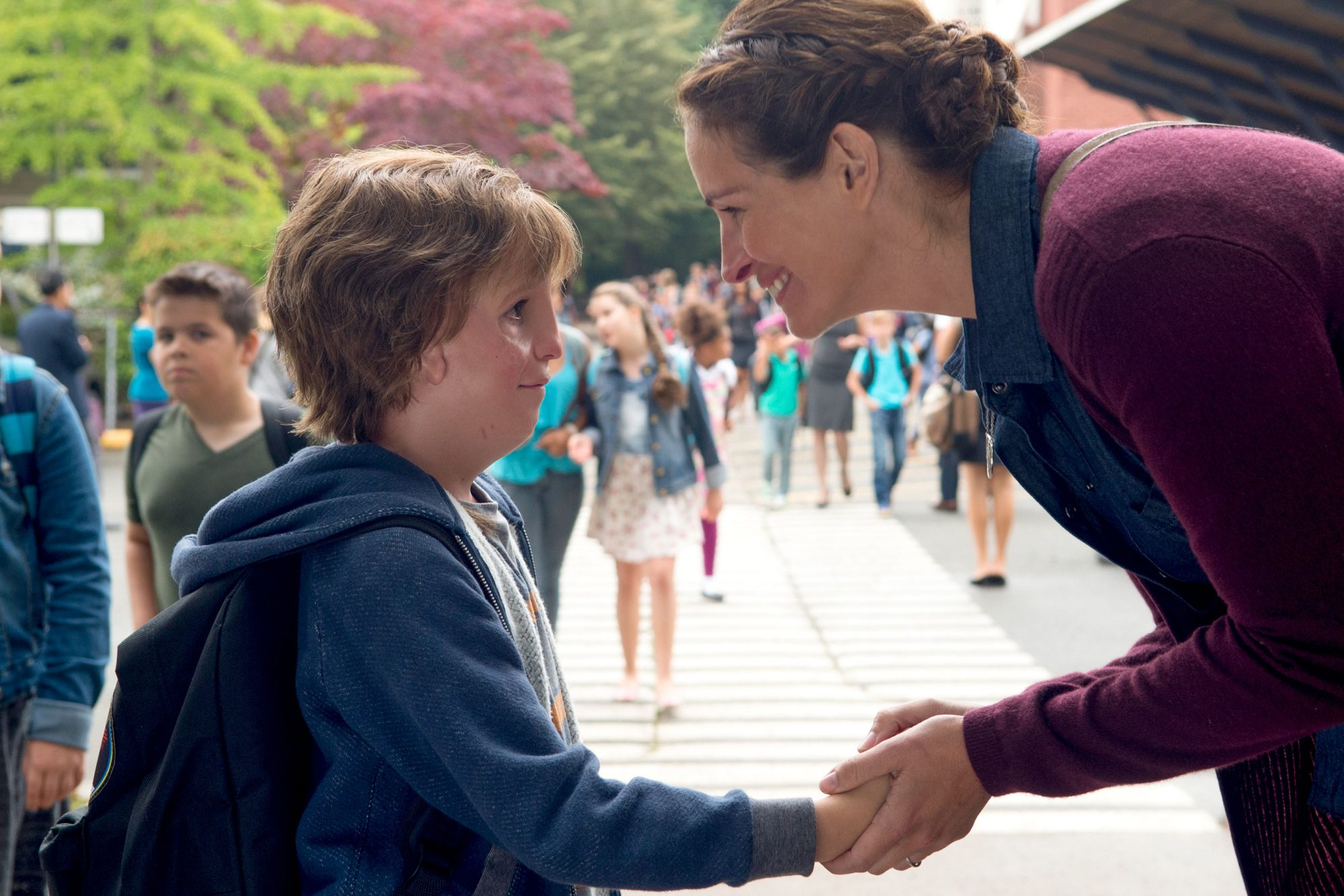 "Jacob Tremblay as ""Auggie"" and Julia Roberts as ""Isabel"" in WONDER."