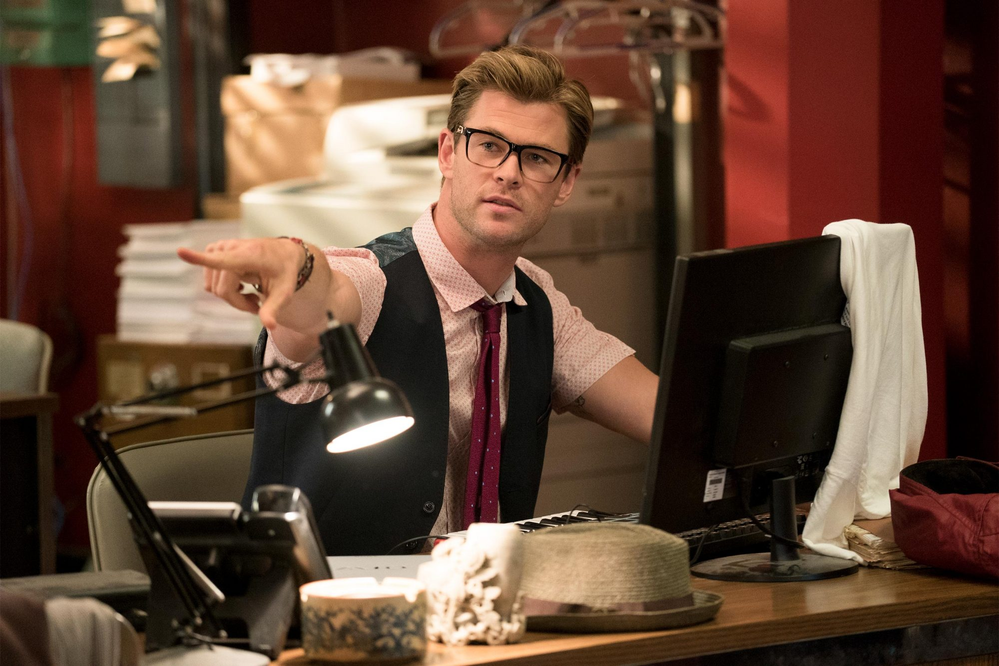 The Ghostbusters (2016) new receptionist Kevin (Chris Hemsworth)