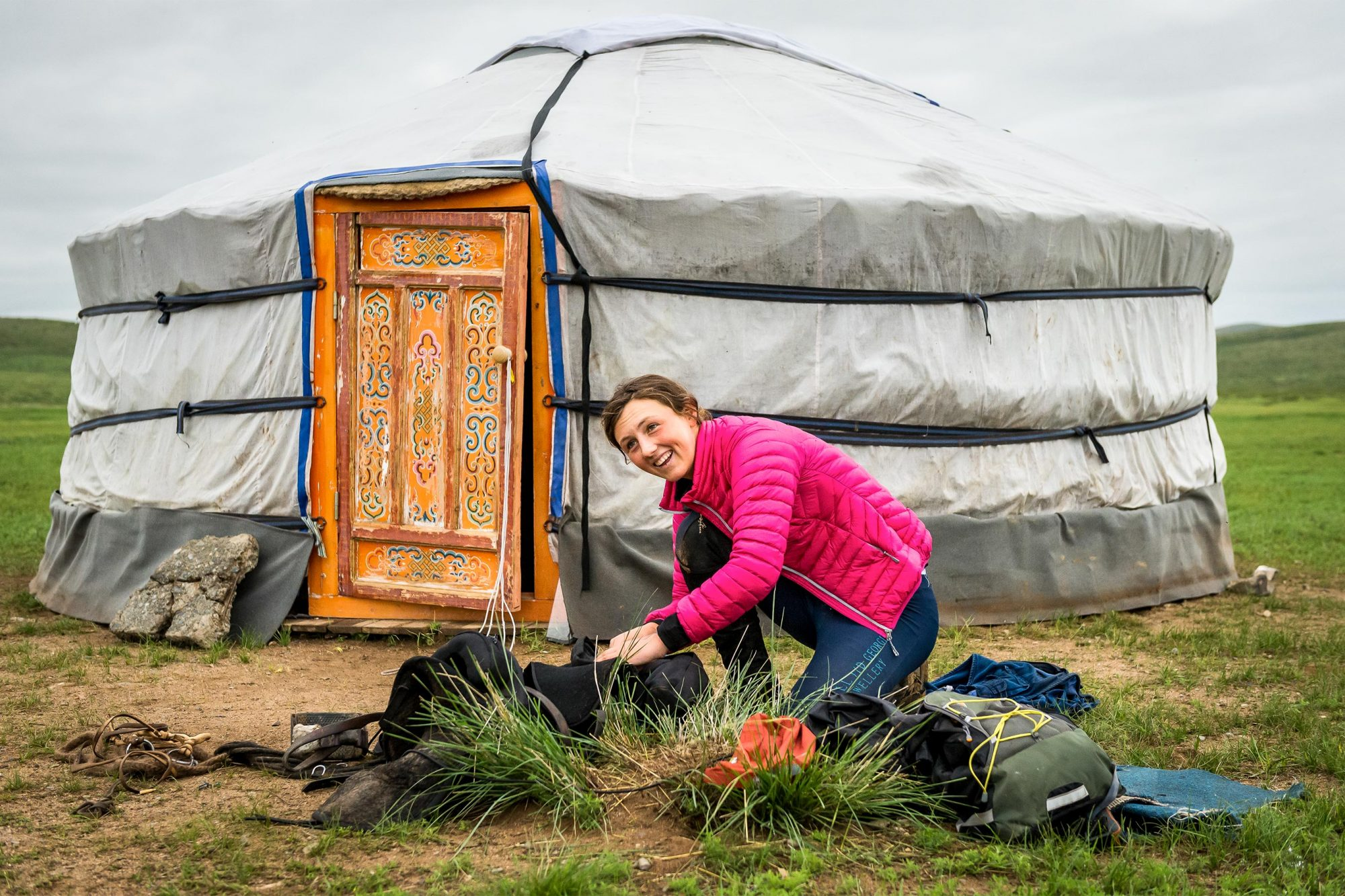 Lara Prior-Palmer and tent - photography credit Richard Dunwoody