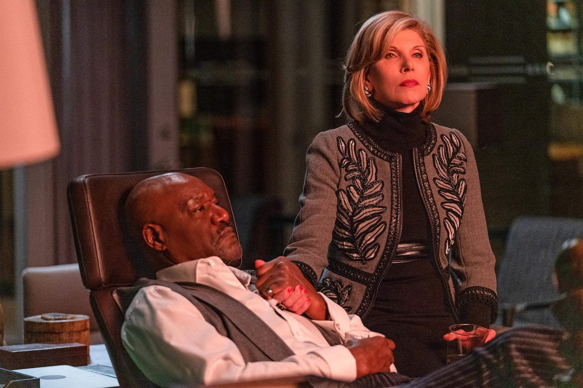 ÒThe One About the End of the WorldÓ -- Episode 310 -- Pictured(l-r): Delroy Lindo as Adrian Boseman; Christine Baranski as Diane Lockhart of the CBS All Access series THE GOOD FIGHT. Photo Cr: Patrick Harbron/CBS ©2019 CBS Interactive, Inc. All Rights Reserved.