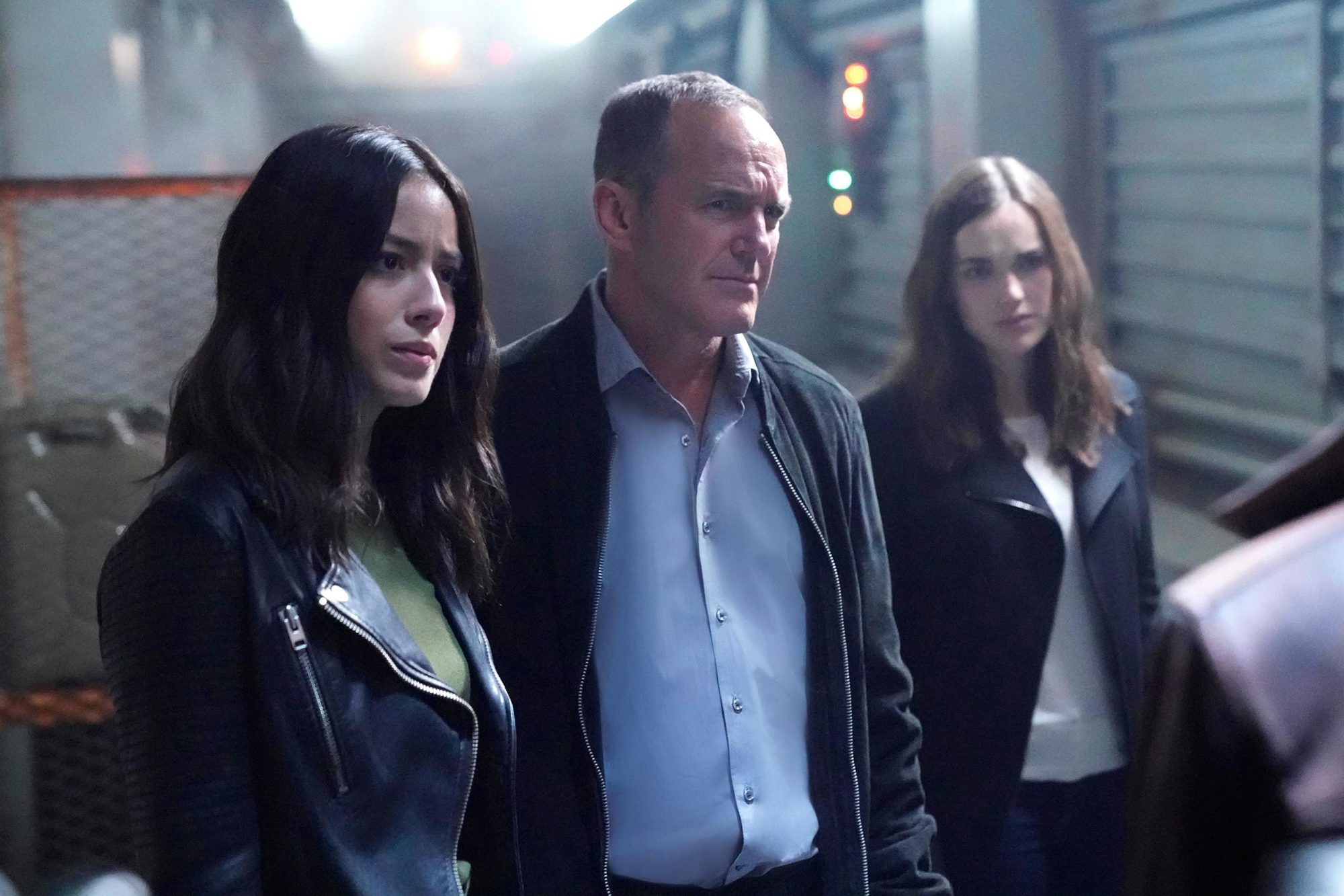 """MARVEL'S AGENTS OF S.H.I.E.L.D. - """"Orientation (Part One)"""" - Coulson and the team find themselves stranded on a mysterious ship in outer space, and that's just the beginning of the nightmare to come, when """"Marvel's Agents of S.H.I.E.L.D."""" returns for its highly anticipated fifth season with a special two-hour premiere, FRIDAY, DEC. 1 (8:00-10:01 p.m. EST), on The ABC Television Network. (ABC/Jennifer Clasen) CHLOE BENNET, CLARK GREGG, ELIZABETH HENSTRIDGE"""