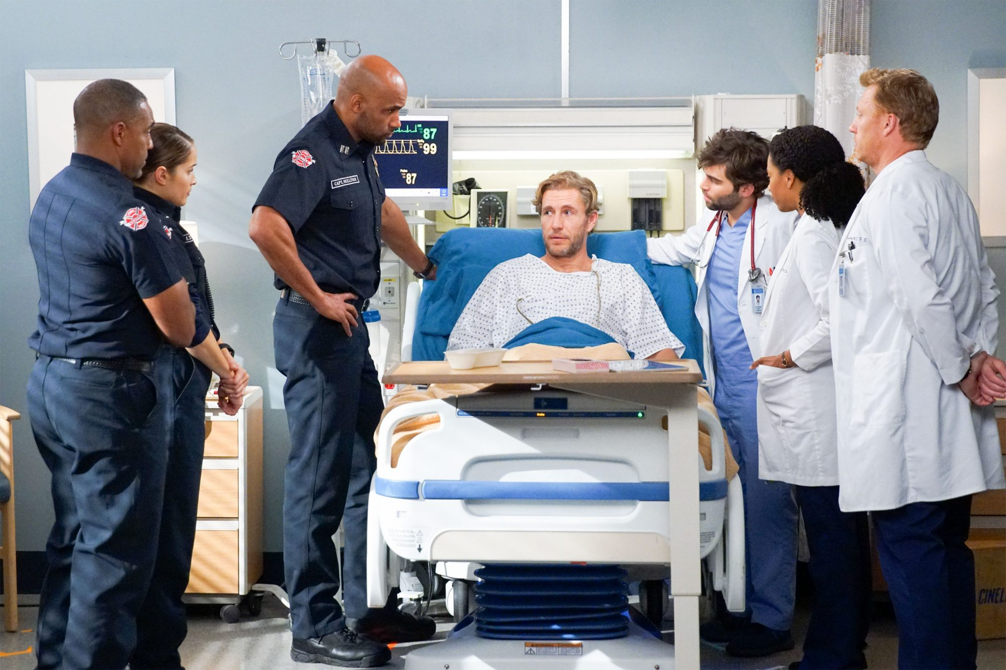 "GREY'S ANATOMY - Worlds will collide in Seattle once again, as ABC is set to air a TGIT crossover event on Thursday, May 2, featuring all-new episodes of ""Grey's Anatomy"" and ""Station 19"" from 8:00-10:00 p.m. EDT. The TGIT crossover event kicks off with an all-new episode of ""Grey's Anatomy,"" entitled ""What I Did for Love,"" where Maggie treats one of Station 19's own, and Jo learns a hard lesson. Meanwhile, when working with a family seeking asylum, Meredith makes a call that could jeopardize her career on ""Grey's Anatomy,"" THURSDAY, MAY 2 (8:00-9:01 p.m. EDT), on The ABC Television Network. (ABC/Scott Everett White) JASON GEORGE, JAINA LEE ORTIZ, BORIS KODJOE, BRETT TUCKER, JAKE BORELLI, KELLY MCCREARY, KEVIN MCKIDD"