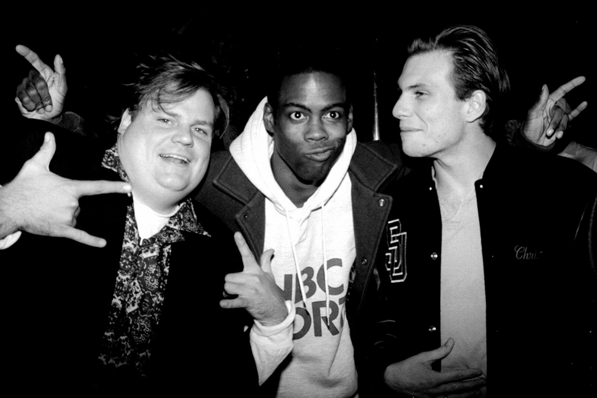 Christian Slater (r.) with Saturday Night Live cast members