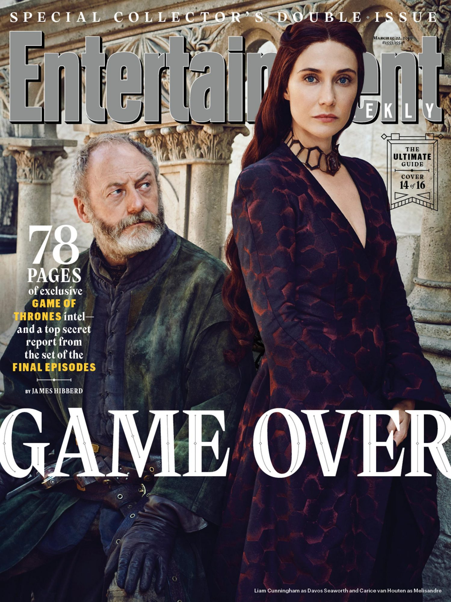 Liam Cunningham and Carice van Houten as Davos Seaworth and Melisandre