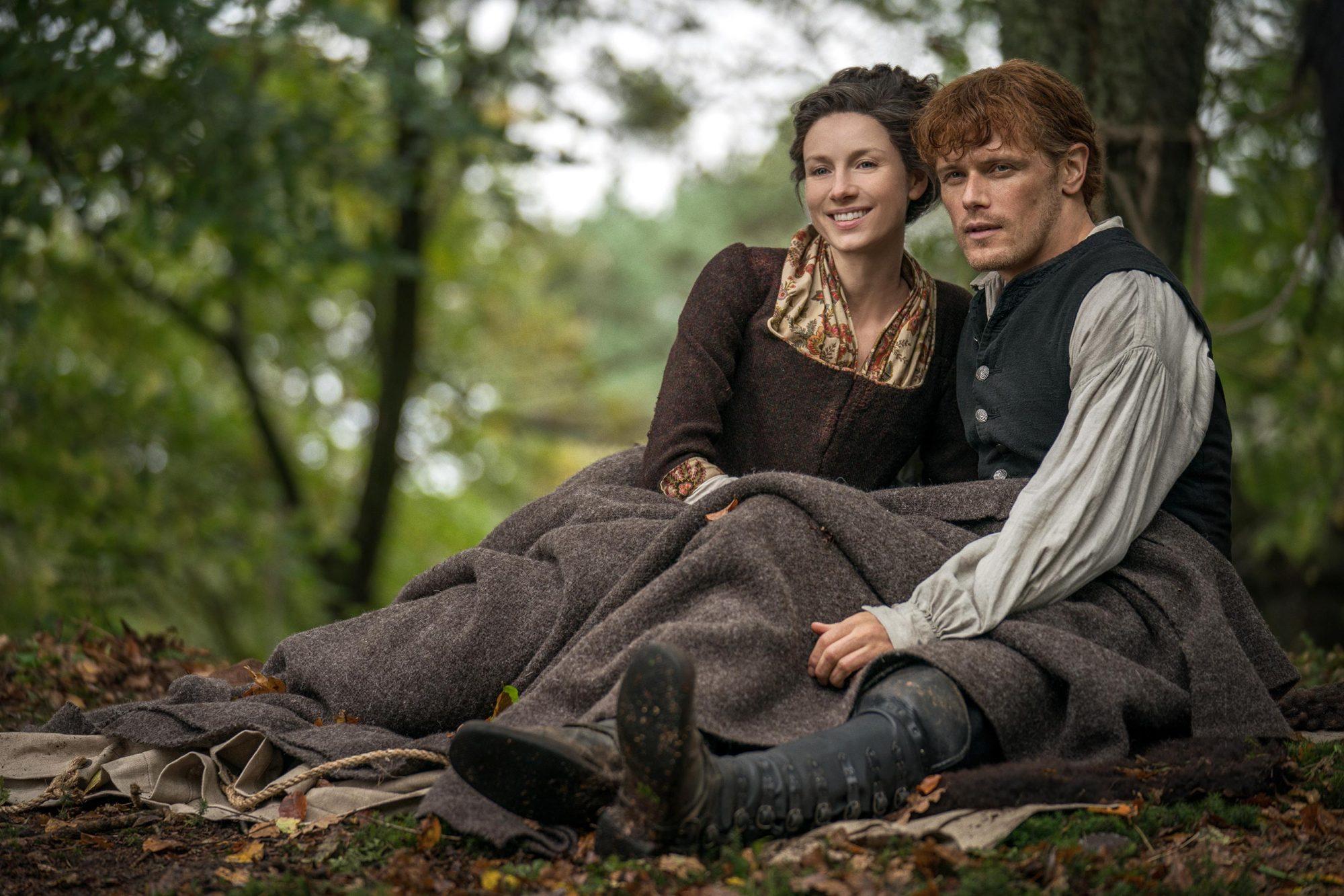 Outlander Season 4 Caitriona Balfe (Claire Randall Fraser), Sam Heughan (Jamie Fraser) Credit: Aimee Spinks/Starz