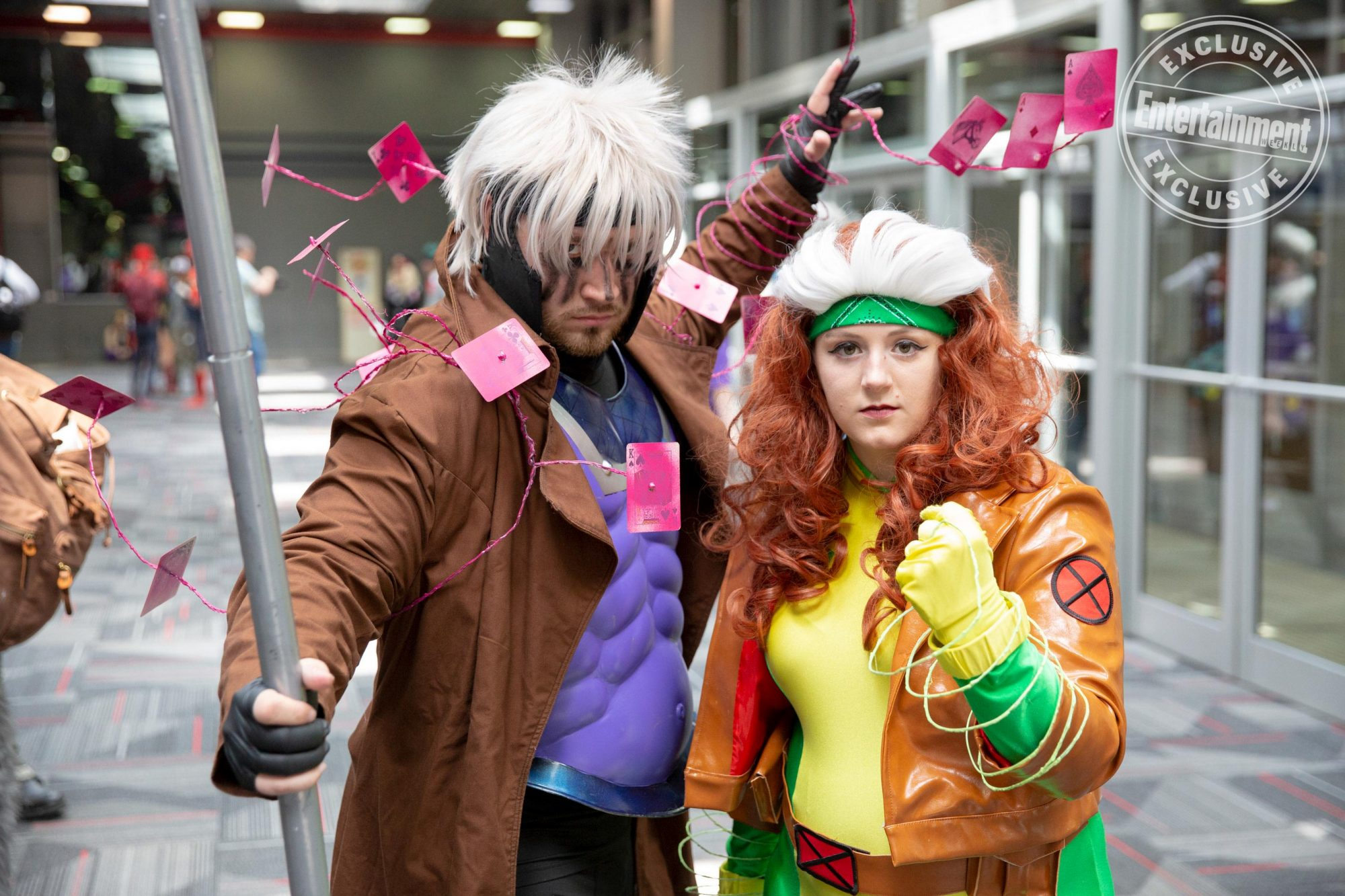 Anime Central 2019 cosplayers photographed on May 18th and 19th in Chicago, IL by Chris Cosgrove for Entertainment Weekly. -- Pictured: Apocalyptic Gambit from X-Men: Age of Apocalypse and 1990s Rogue from X-Men cosplayers