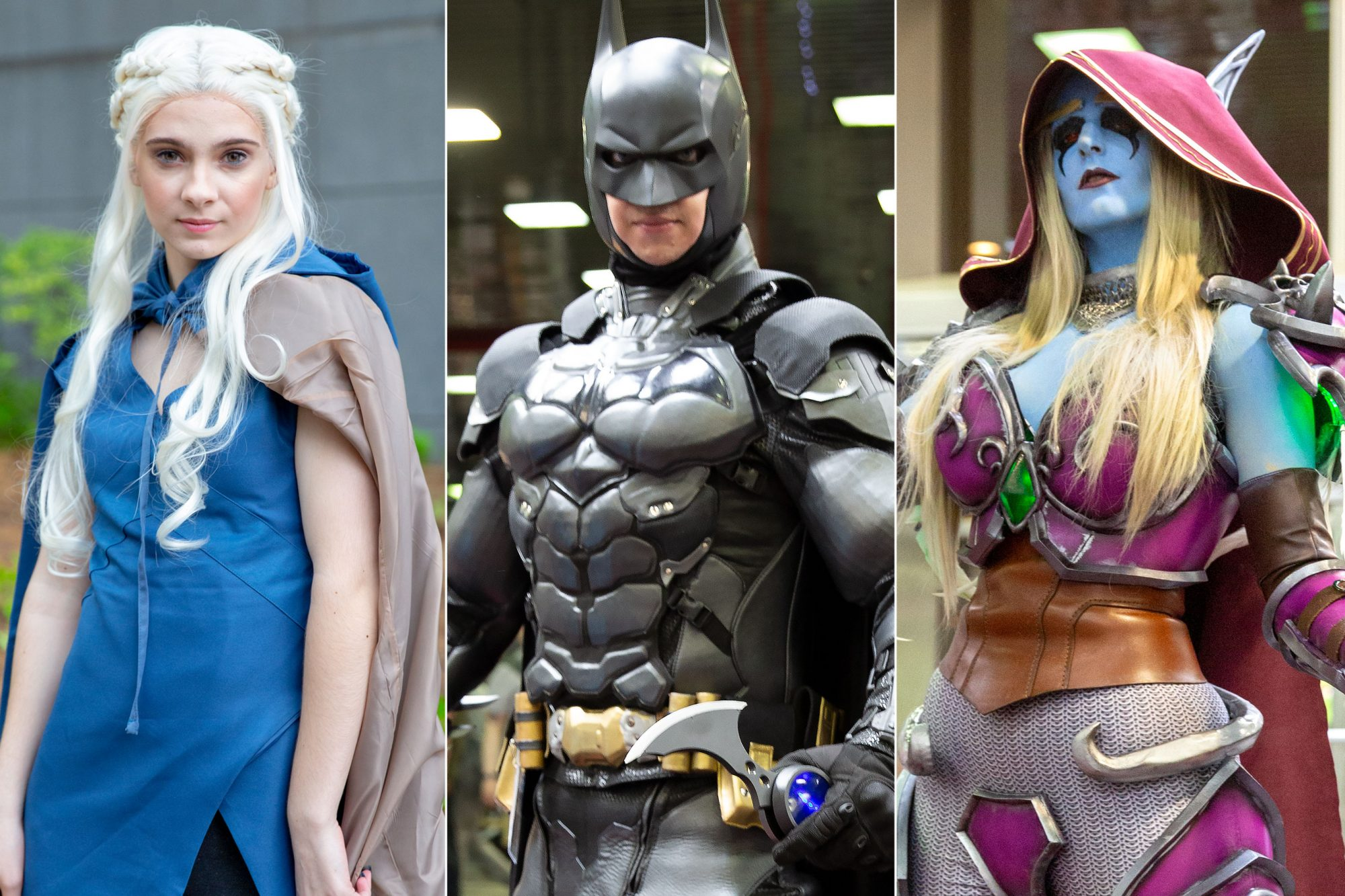 Anime Central 2019 cosplayers photographed on May 18th and 19th in Chicago, IL by Chris Cosgrove for Entertainment Weekly. -- Pictured: Daenerys Targaryen from Game of Thrones cosplayer Batman cosplayer Sylvanas from World of Warcraft cosplayer