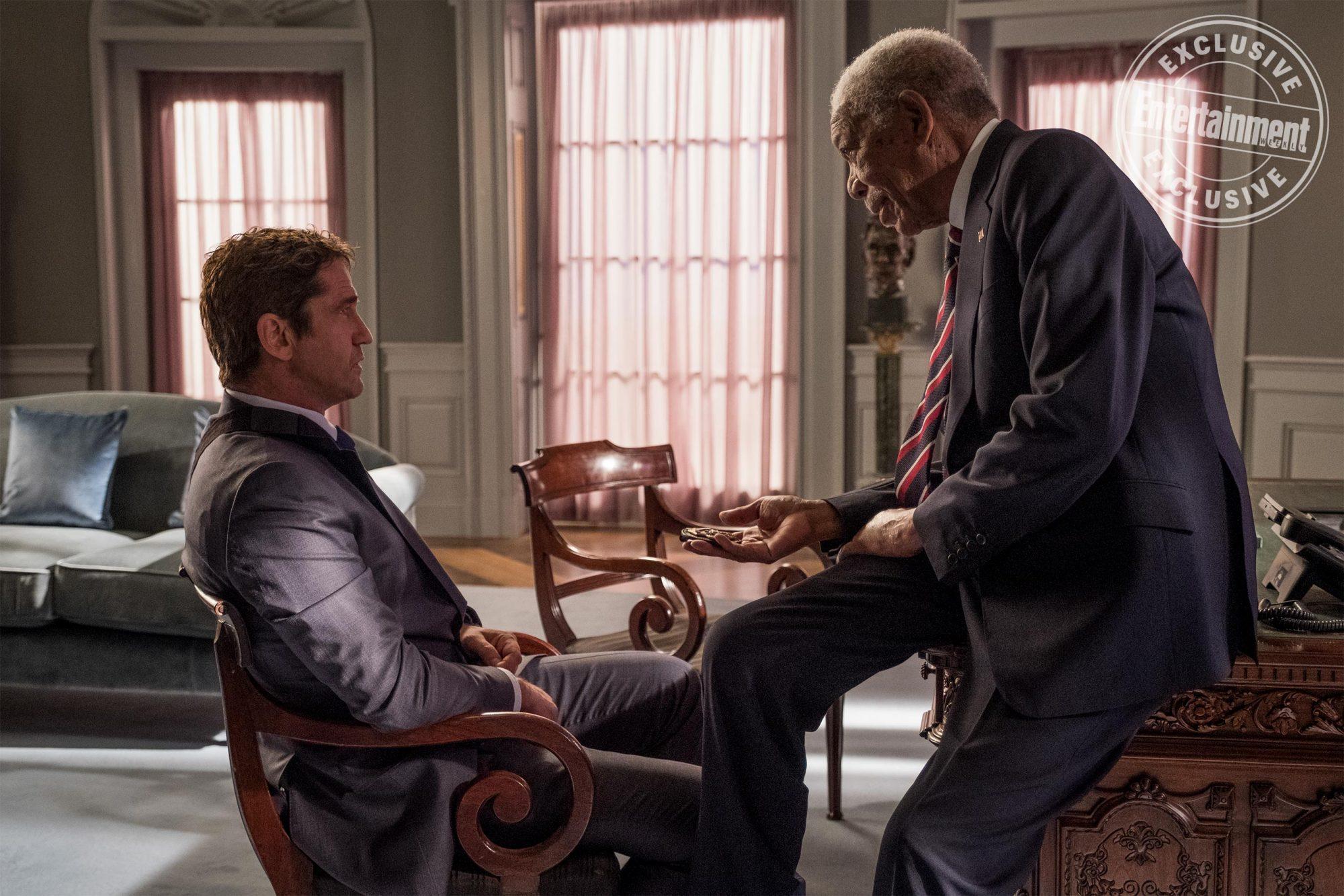 Angel Has Fallen (2019) Gerard Butler and Morgan Freeman CR: Jack English/Lionsgate
