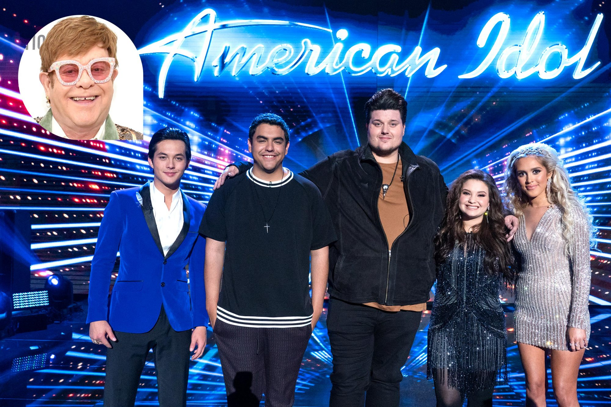 "AMERICAN IDOL -""216 (Woodstock and Show Stoppers)"" - The stakes are high as the remaining ""American Idol"" finalists sing their hearts out in hopes of winning America's vote and advancing to the next phase of the competition. In this episode, each contestant will perform one inspirationally powerful ""showstopper"" song, with the help of former Idol hopeful and now GRAMMY® Award-winning artist, Lauren Daigle, who serves as celebrity guest mentor. Each finalist will also take on a song performed at the famed Woodstock music festival in 1969, which remains one of the most historic moments in popular music history. Sunday night's show will be the final opportunity for the judges to use their coveted save on one contestant this season. Last season's second runner-up and powerhouse vocalist, Gabby Barrett, returns to the Idol stage to perform her latest song, ""I Hope,"" claiming her the No. 1 spot on Radio Disney Country's Top 50 Chart and continuing to rise to the Top 3 on SiriusXM's ""The Highway."" The journey to find the next superstar continues SUNDAY, MAY 5 (8:00-10:01 p.m. EDT/5:00-7:01 p.m. PDT), on The ABC Television Network. (ABC/Eric McCandless) LAINE HARDY, ALEJANDRO ARANDA, WADE COTA, MADISON VANDENBURG, LACI KAYE BOOTH WEST HOLLYWOOD, CA - FEBRUARY 24: Sir Elton John attends the 27th annual Elton John AIDS Foundation Academy Awards Viewing Party sponsored by IMDb and Neuro Drinks celebrating EJAF and the 91st Academy Awards on February 24, 2019 in West Hollywood, California. (Photo by Michael Kovac/Getty Images for EJAF)"