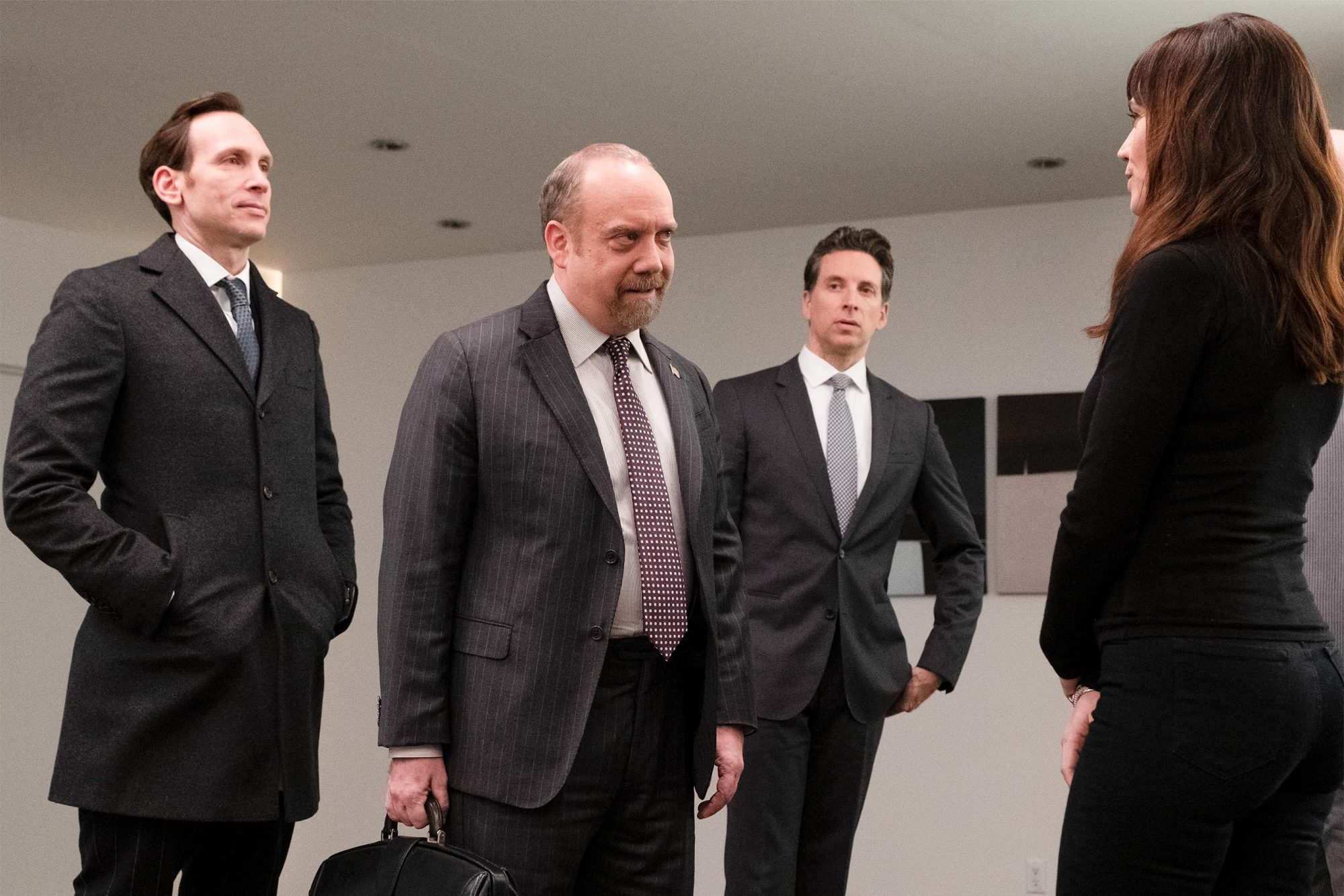 "Stephen Kunken as Ari Spyros, Paul Giamatti as Chuck Rhoades, Ben Shenkman as Ira Schirmer and Maggie Siff as Wendy Rhoades in BILLIONS (Season 4, Episode 10, ""New Year's Day""). - Photo: Jeff Neumann/SHOWTIME - Photo ID: BILLIONS_410_493.R.jpg"