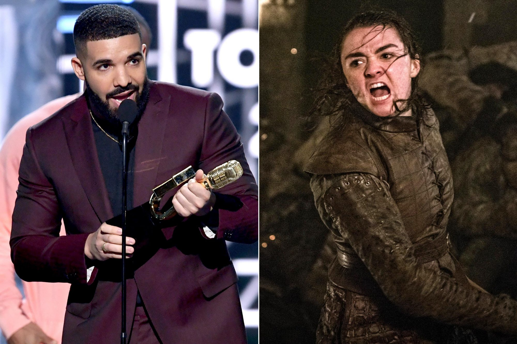 "LAS VEGAS, NEVADA - MAY 01: Drake accepts the Top Billboard 200 Album award for 'Scorpion' onstage during the 2019 Billboard Music Awards at MGM Grand Garden Arena on May 01, 2019 in Las Vegas, Nevada. (Photo by Kevin Winter/Getty Images for dcp) Maisie Williams as Arya Stark The third episode of Game of Thrones' final season, entitled, ""The Long Night""."